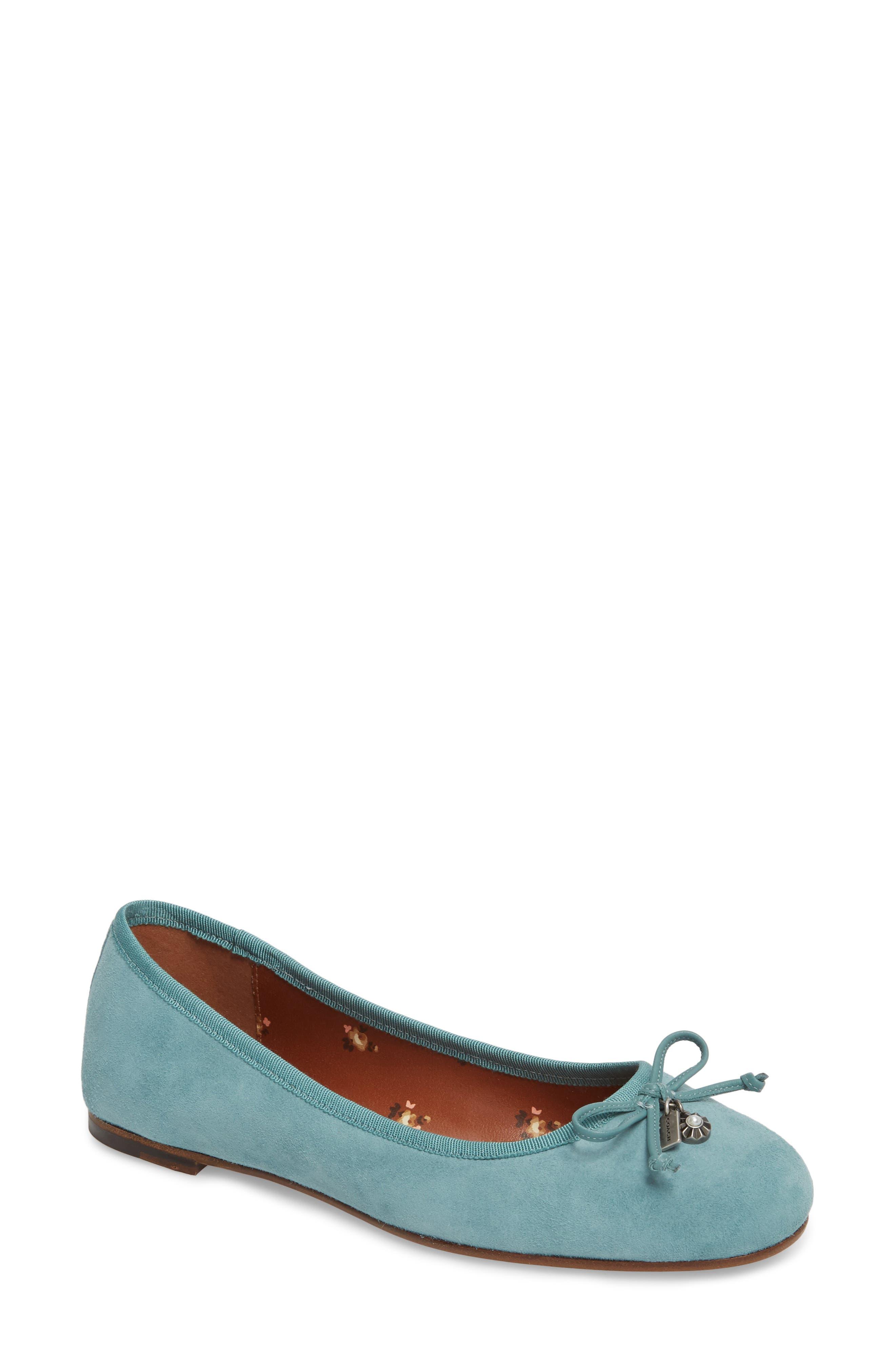 Lola Ballet Flat,                         Main,                         color, Marine Leather