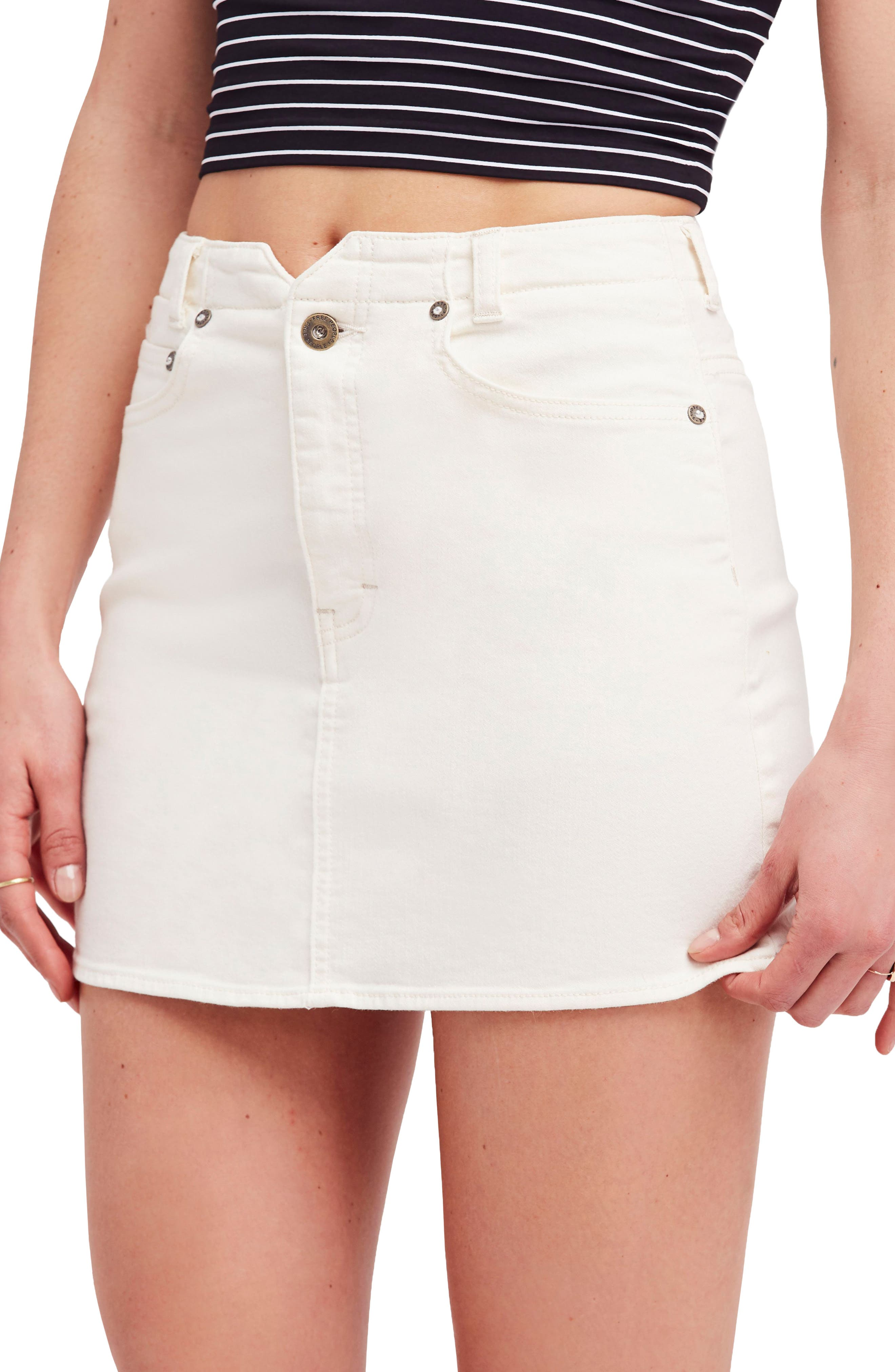 She's All That Denim Skirt,                         Main,                         color, White