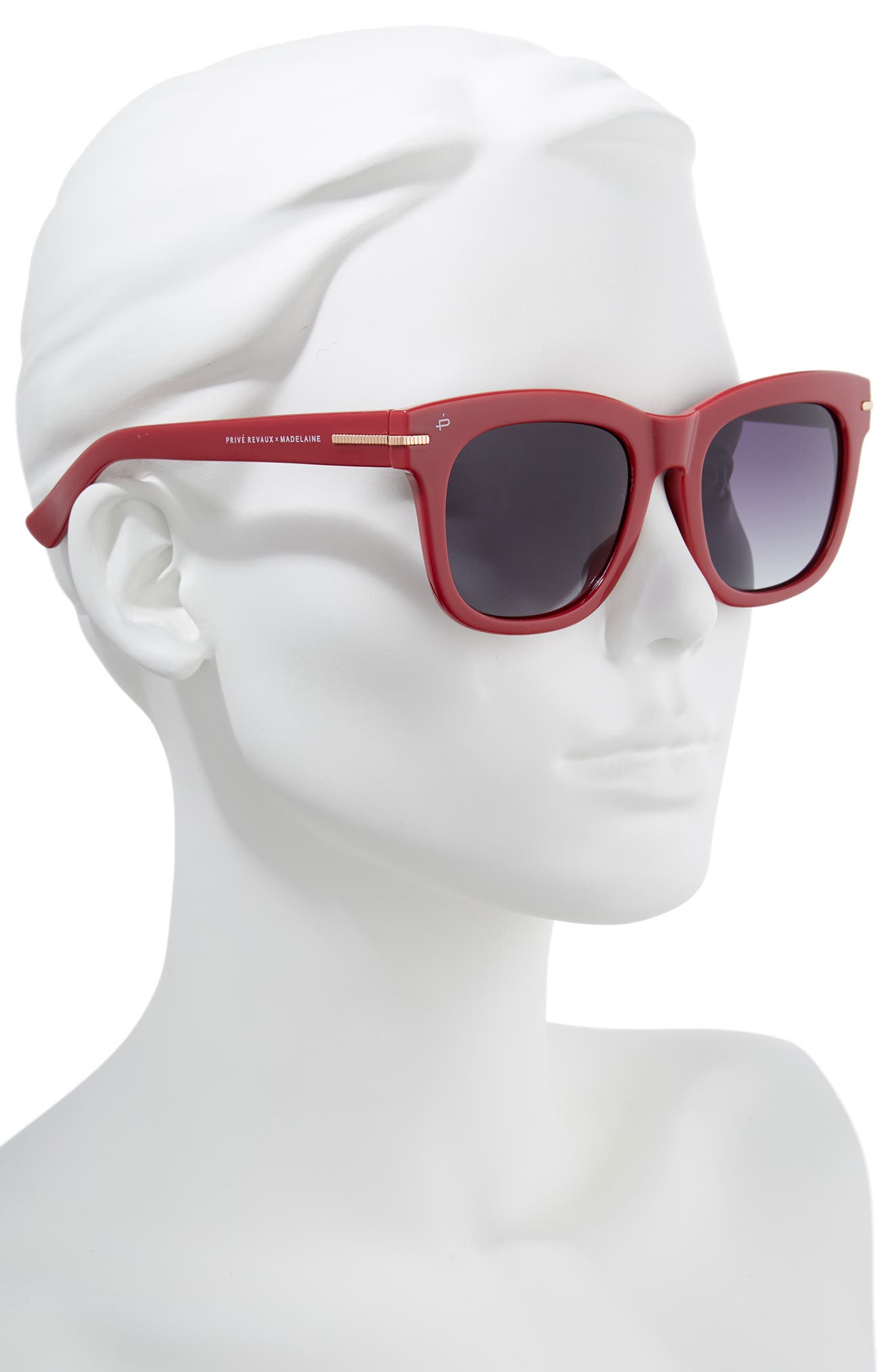 Privé Revaux x Madelaine Petsch The Clique 52mm Square Sunglasses,                             Alternate thumbnail 3, color,                             Red