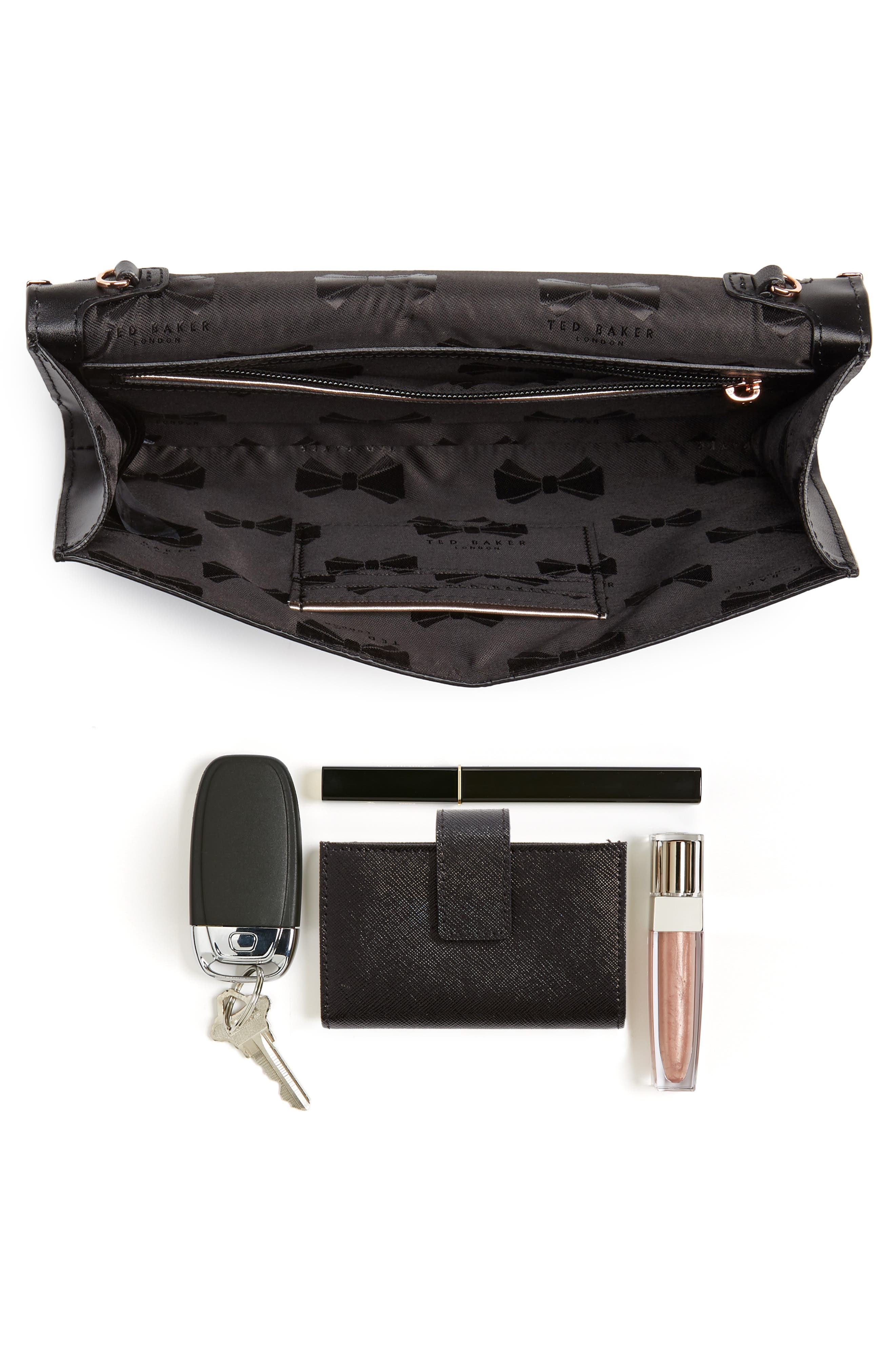 Bree Laser Cut Bow Leather Clutch,                             Alternate thumbnail 4, color,