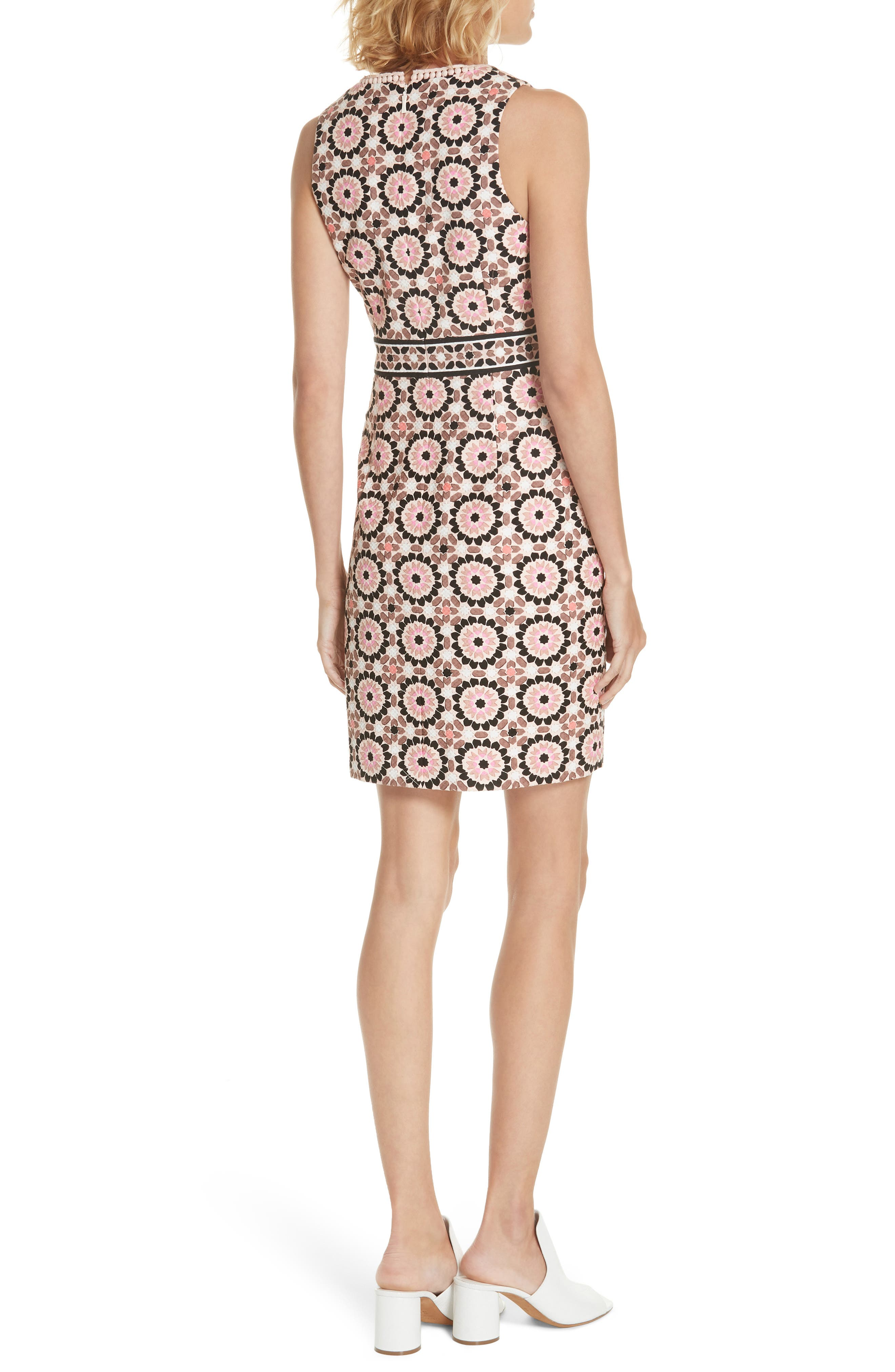 floral mosaic jacquard sheath dress,                             Alternate thumbnail 2, color,                             Pearl Pink Multi