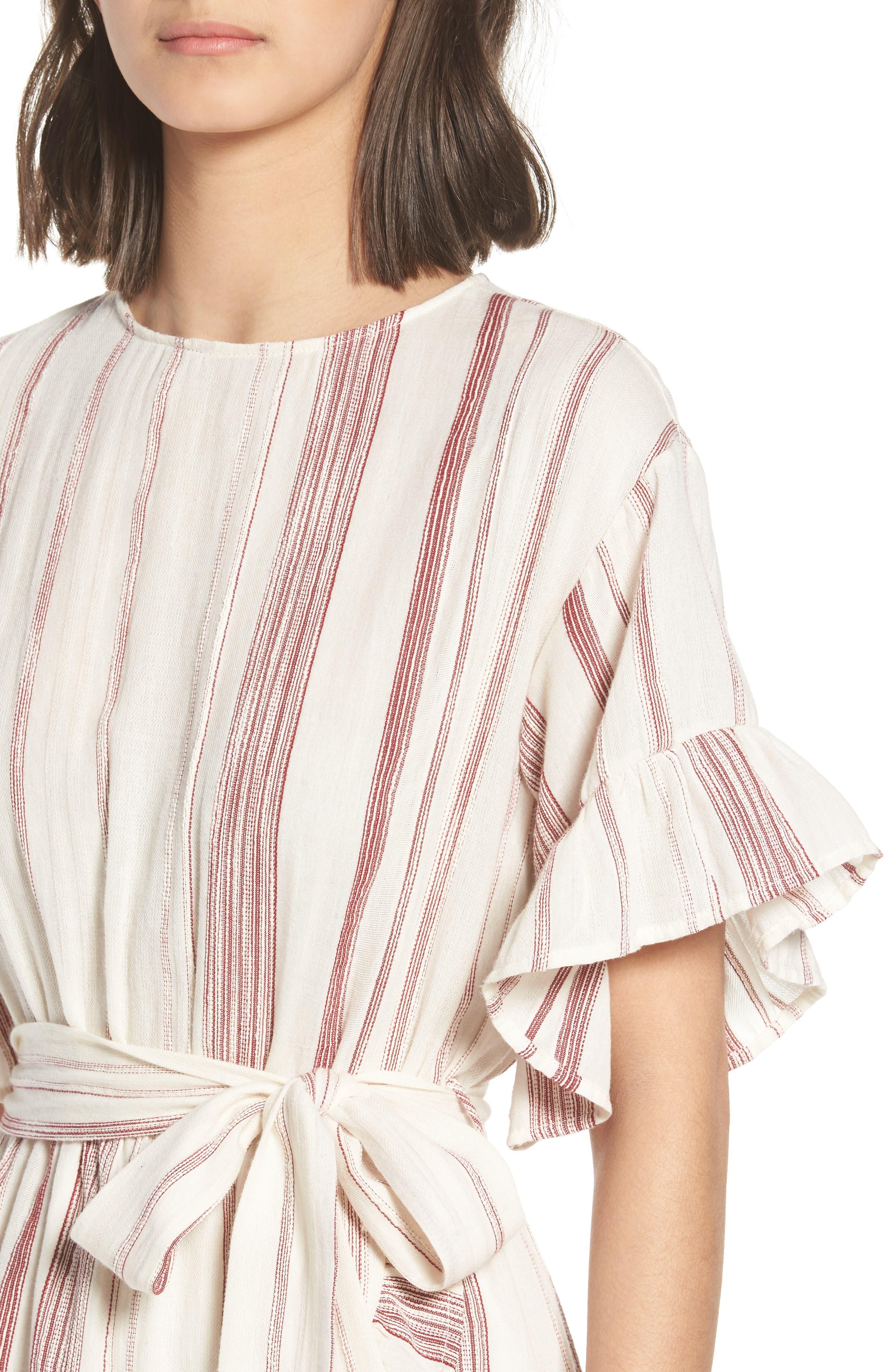Marian Stripe Ruffle Minidress,                             Alternate thumbnail 6, color,                             Red/ Natural