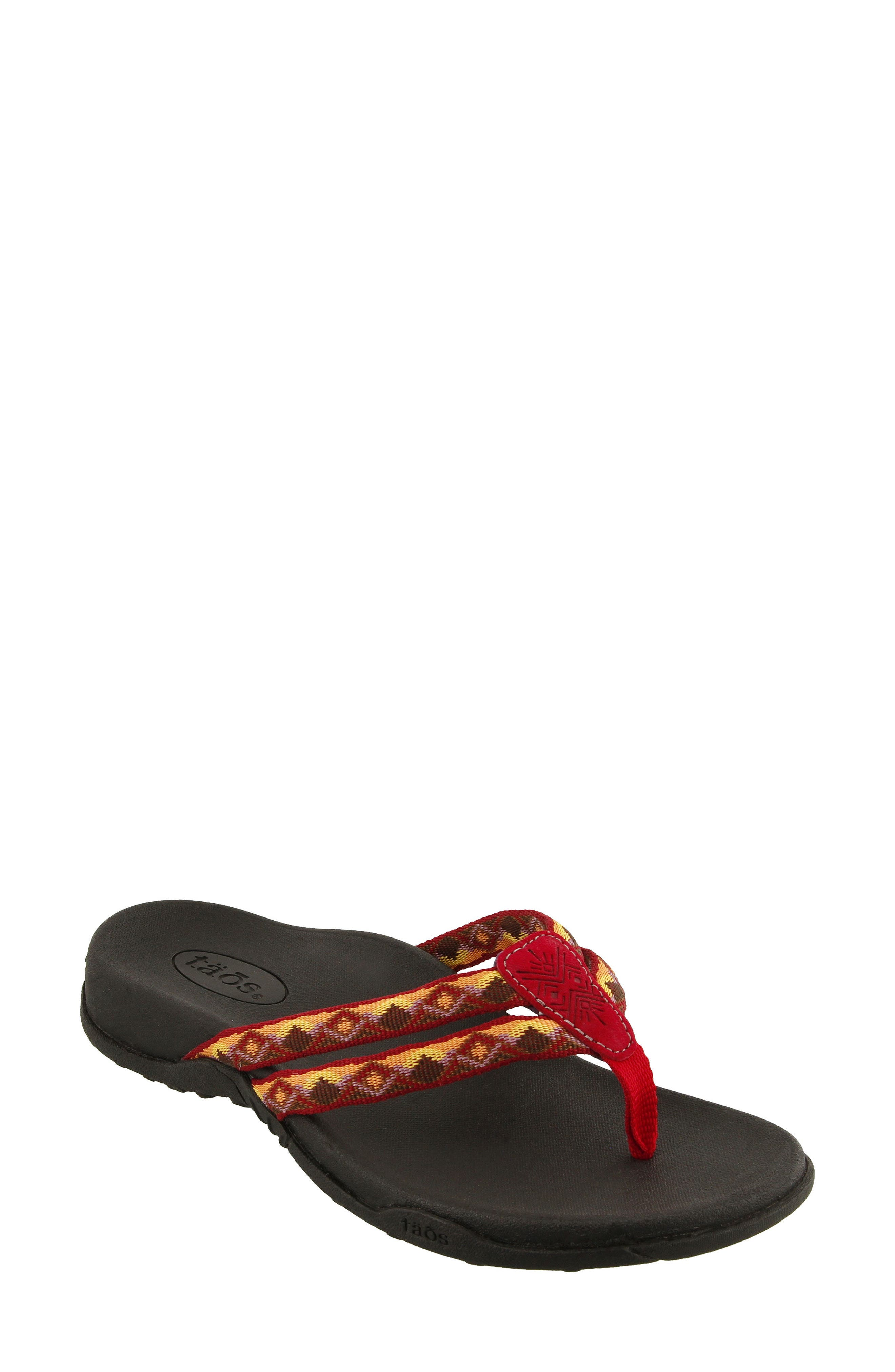 Primo Flip Flop,                             Main thumbnail 1, color,                             Red/ Orange Fabric