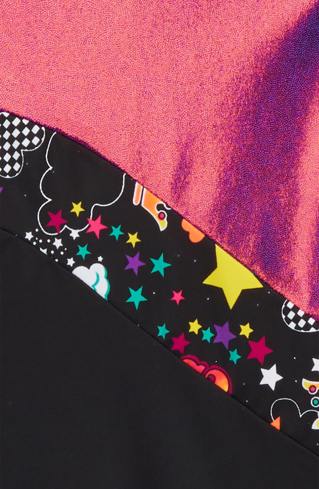 Unicorn Love Foil Biketard,                             Alternate thumbnail 3, color,                             Purple/ Black