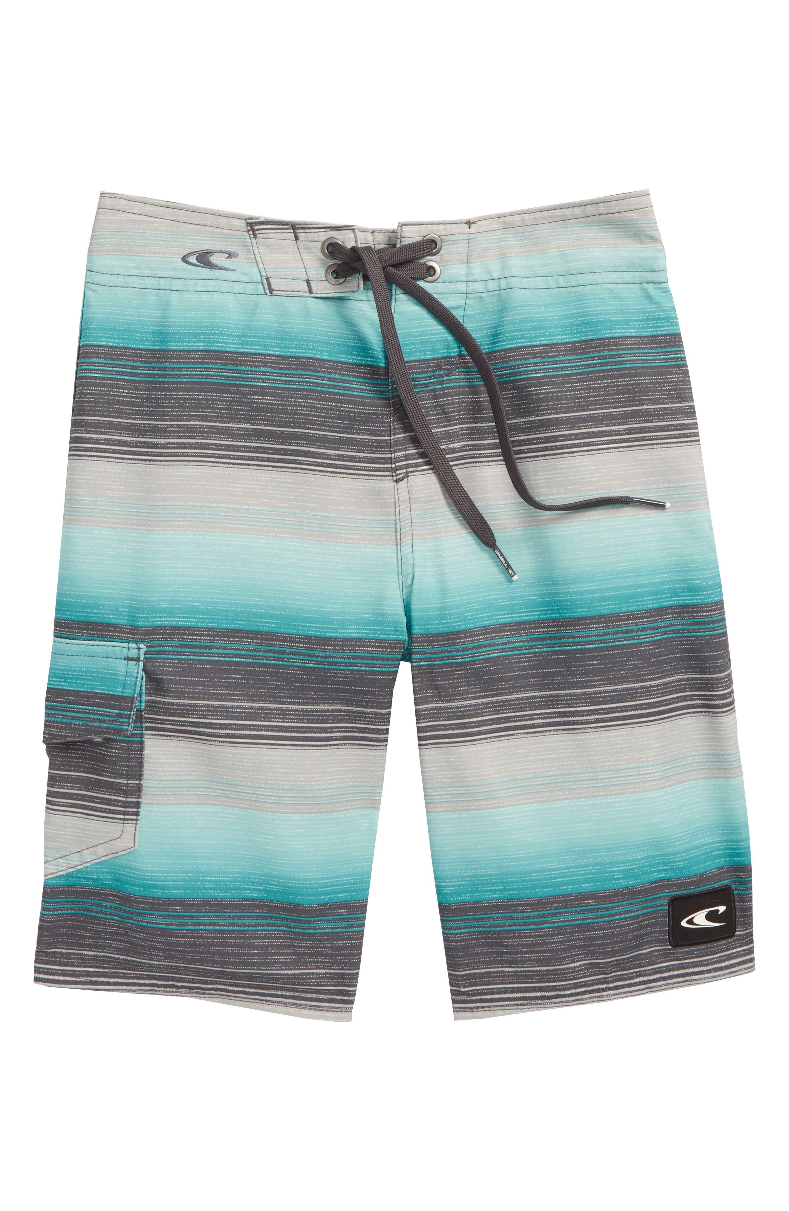 Santa Cruz Stripe Board Shorts,                         Main,                         color, Ocean