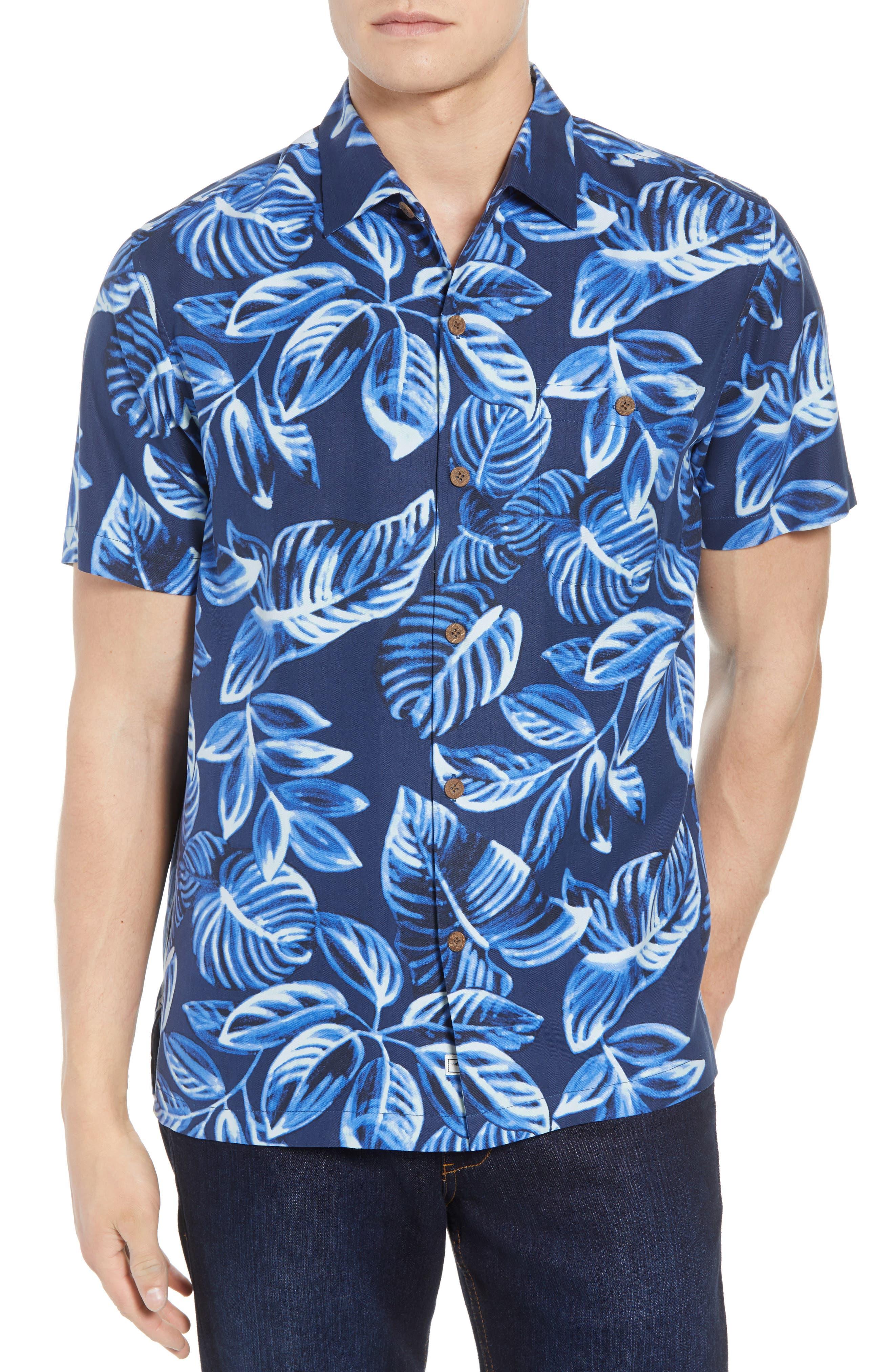 Luna Leaves Silk Camp Shirt,                         Main,                         color, Ocean Deep