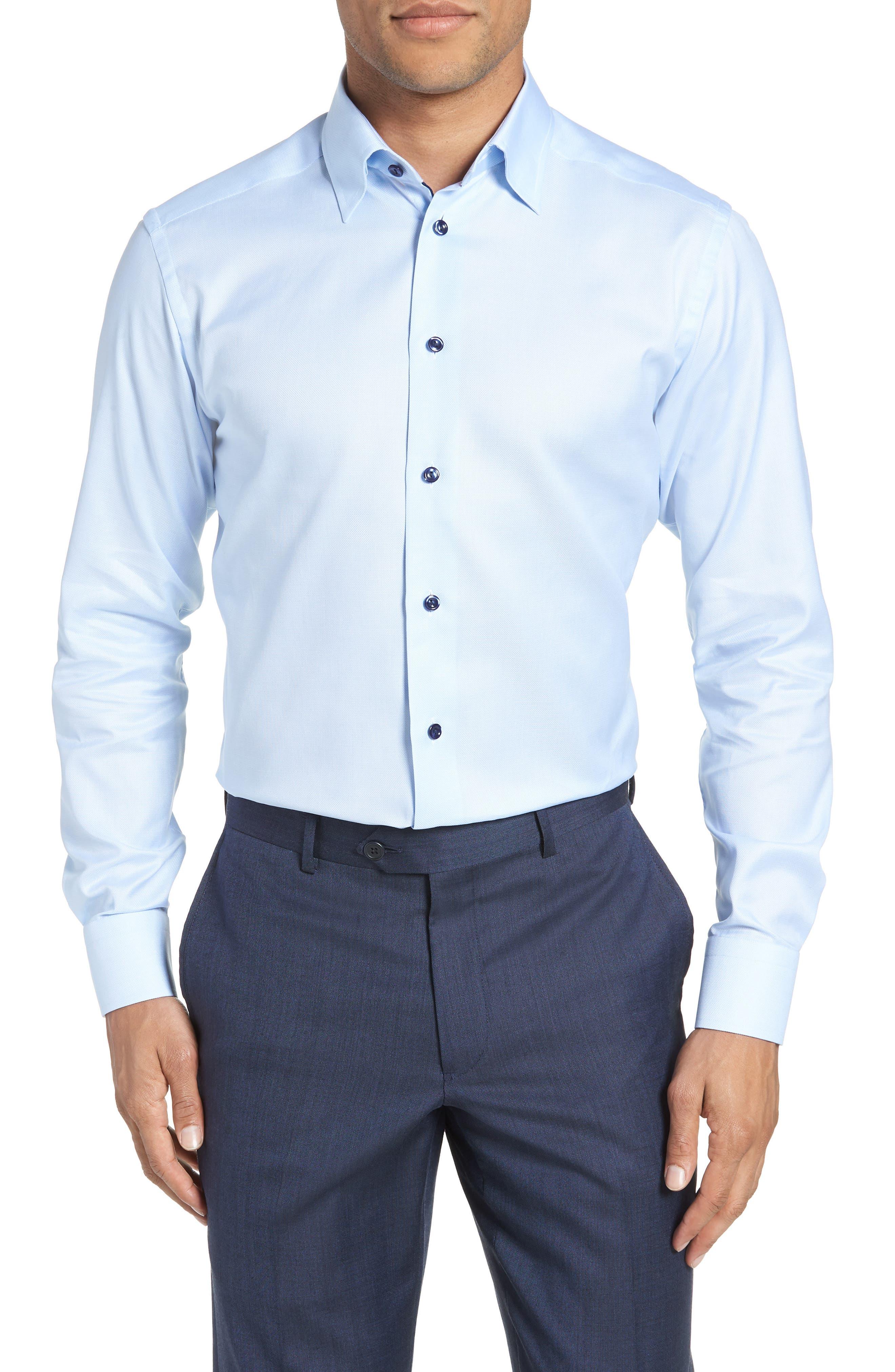 Slim Fit Solid Dress Shirt,                             Main thumbnail 1, color,                             Blue