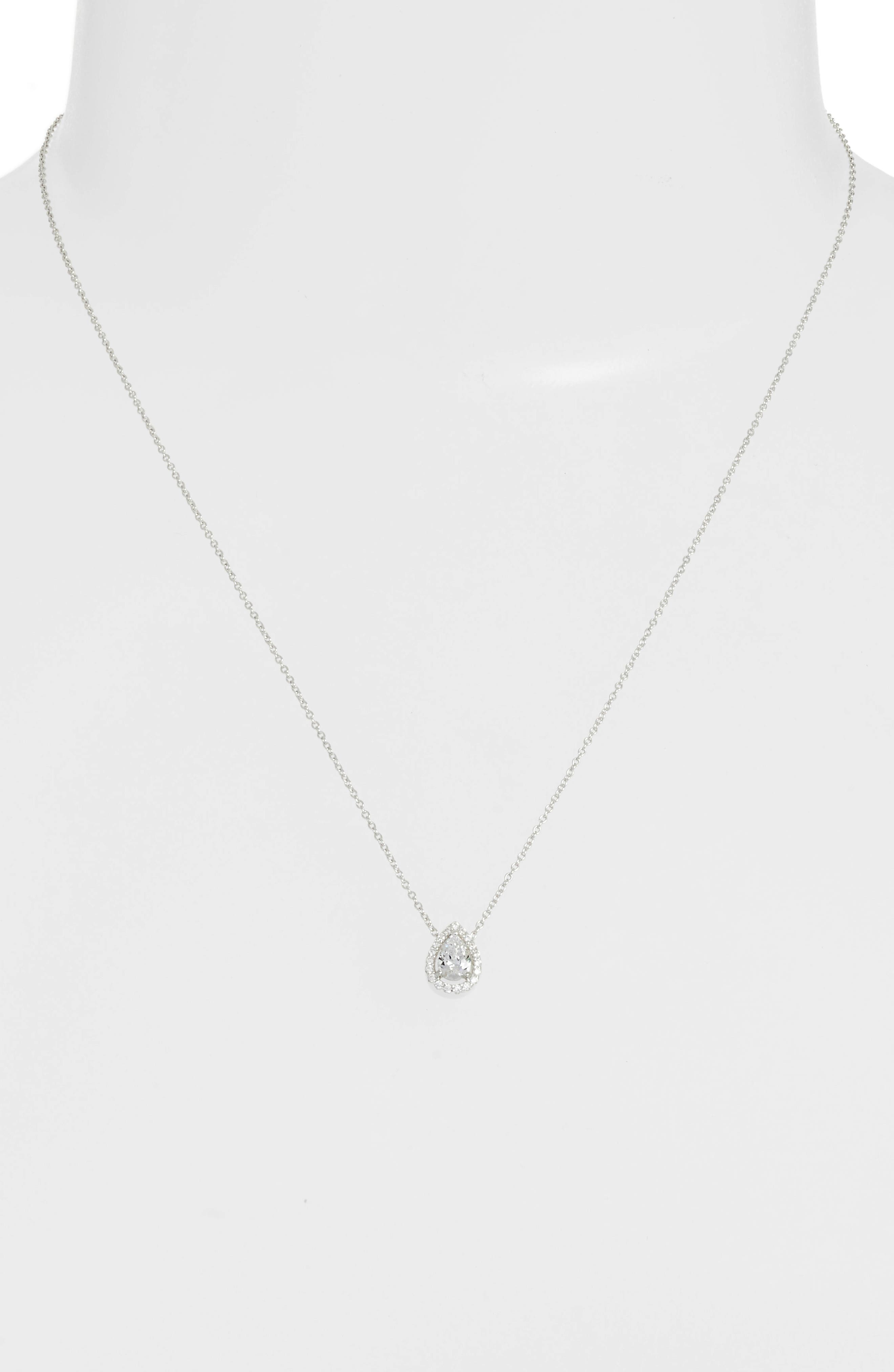 Pear Shaped Halo Necklace,                             Alternate thumbnail 2, color,                             Silver/ Clear