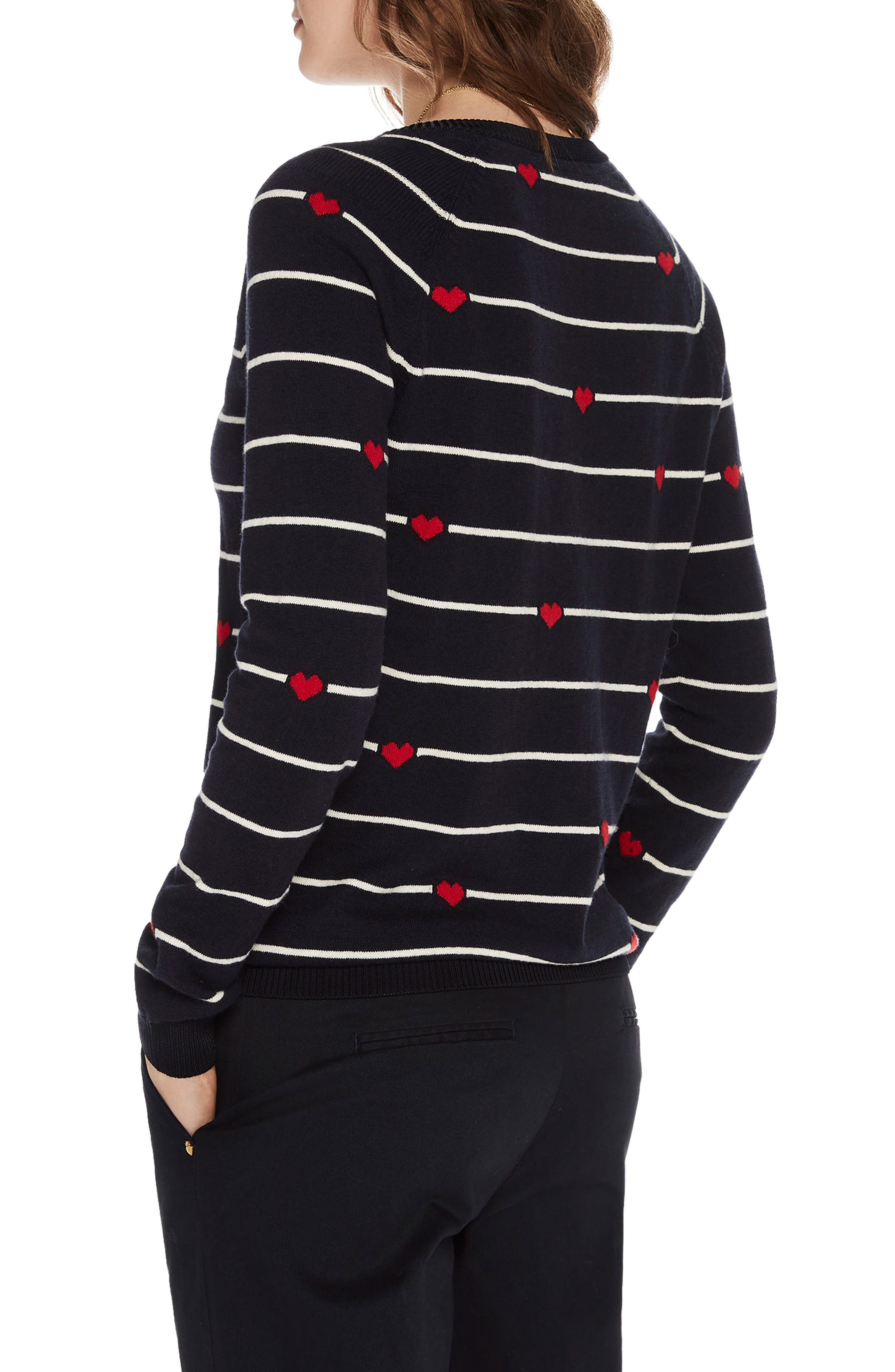 Button Detail Heart Stripe Sweater,                             Alternate thumbnail 2, color,                             18 Combo B