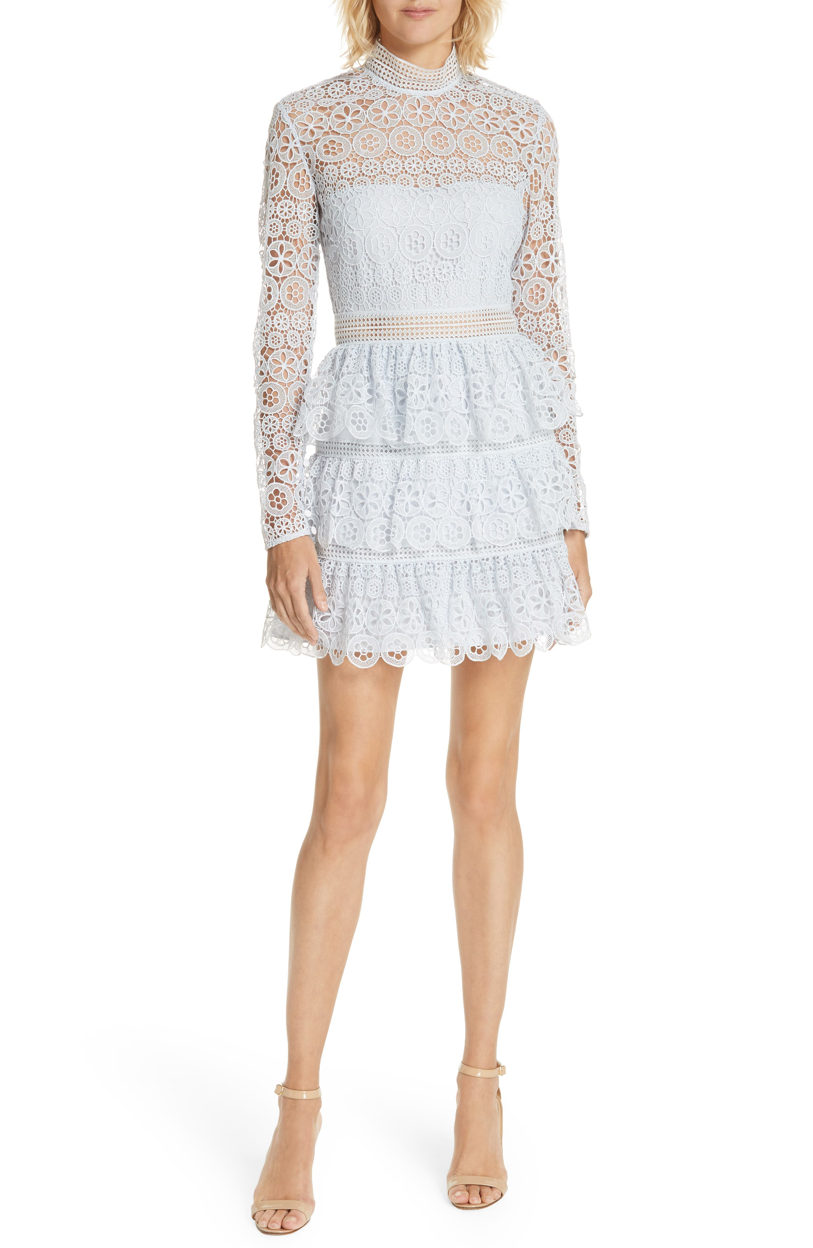 TIERED SCALLOPED LACE DRESS