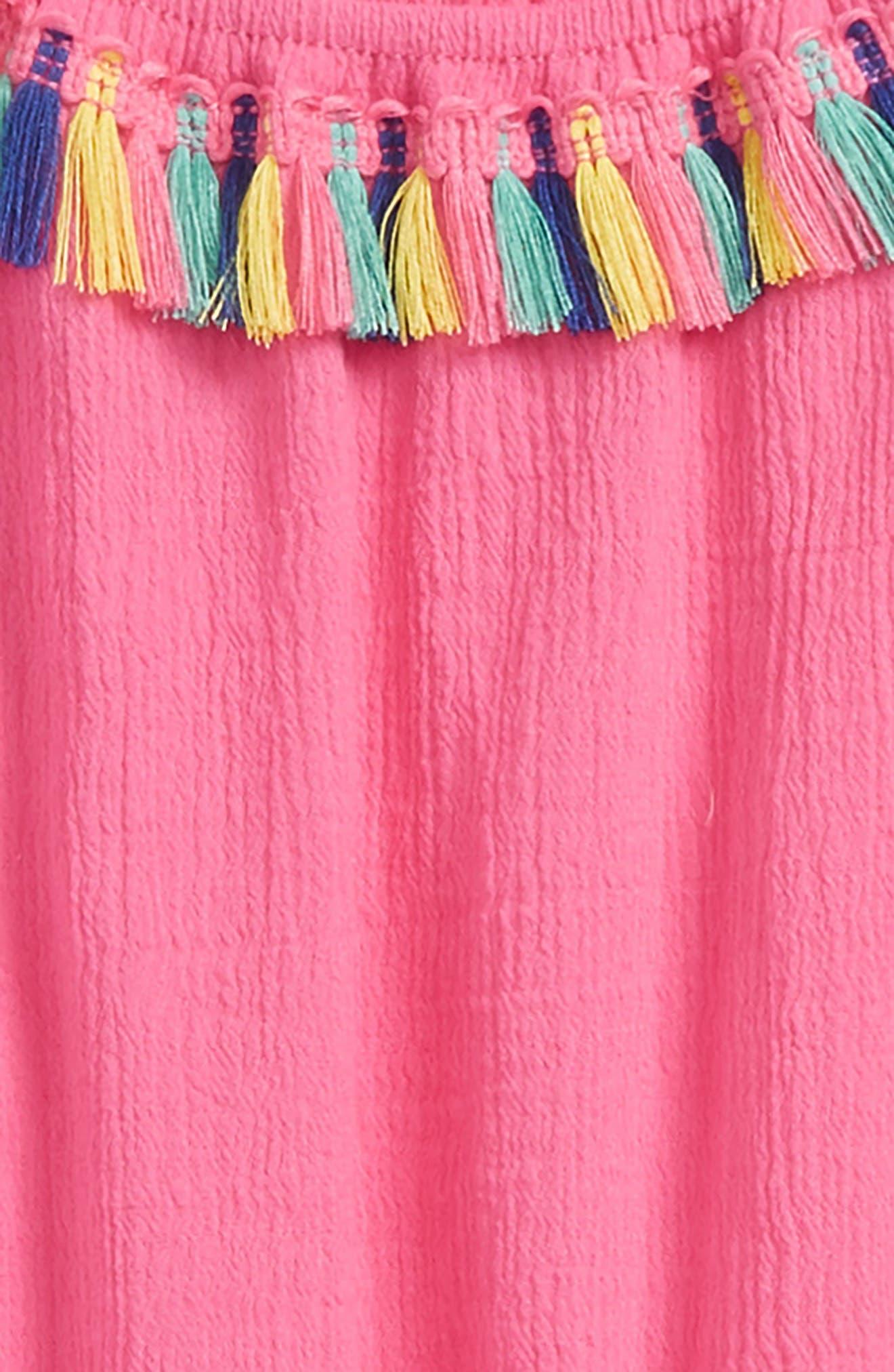 Rainbow Tassel Trim Cover-Up Dress,                             Alternate thumbnail 2, color,                             Hot Pink