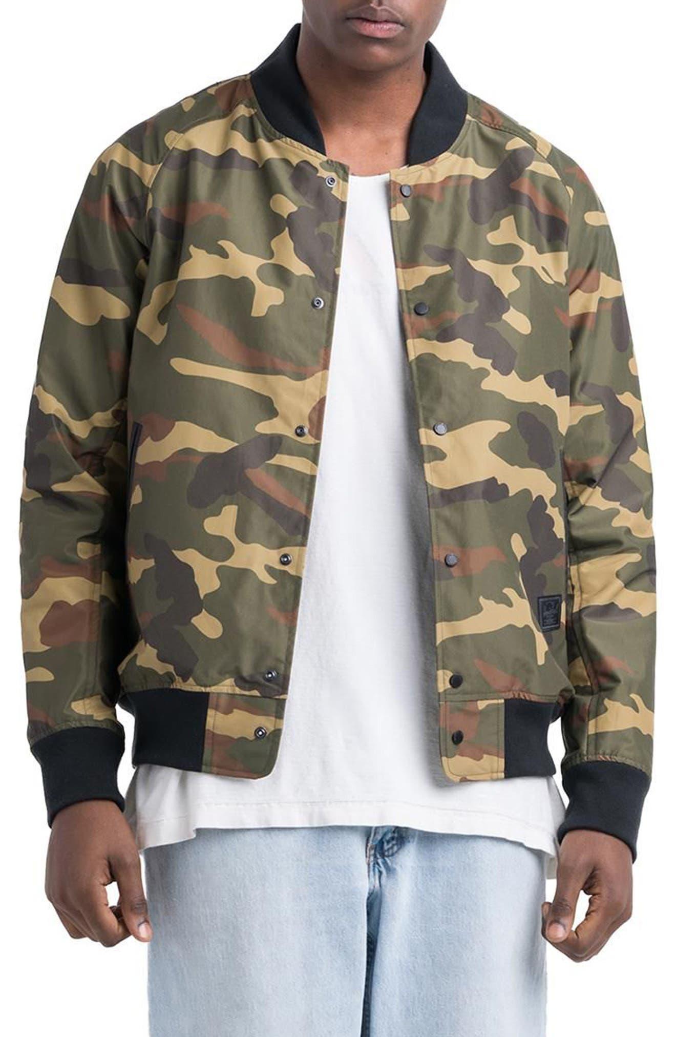 Varsity Jacket,                         Main,                         color, Woodland Camo/ Black