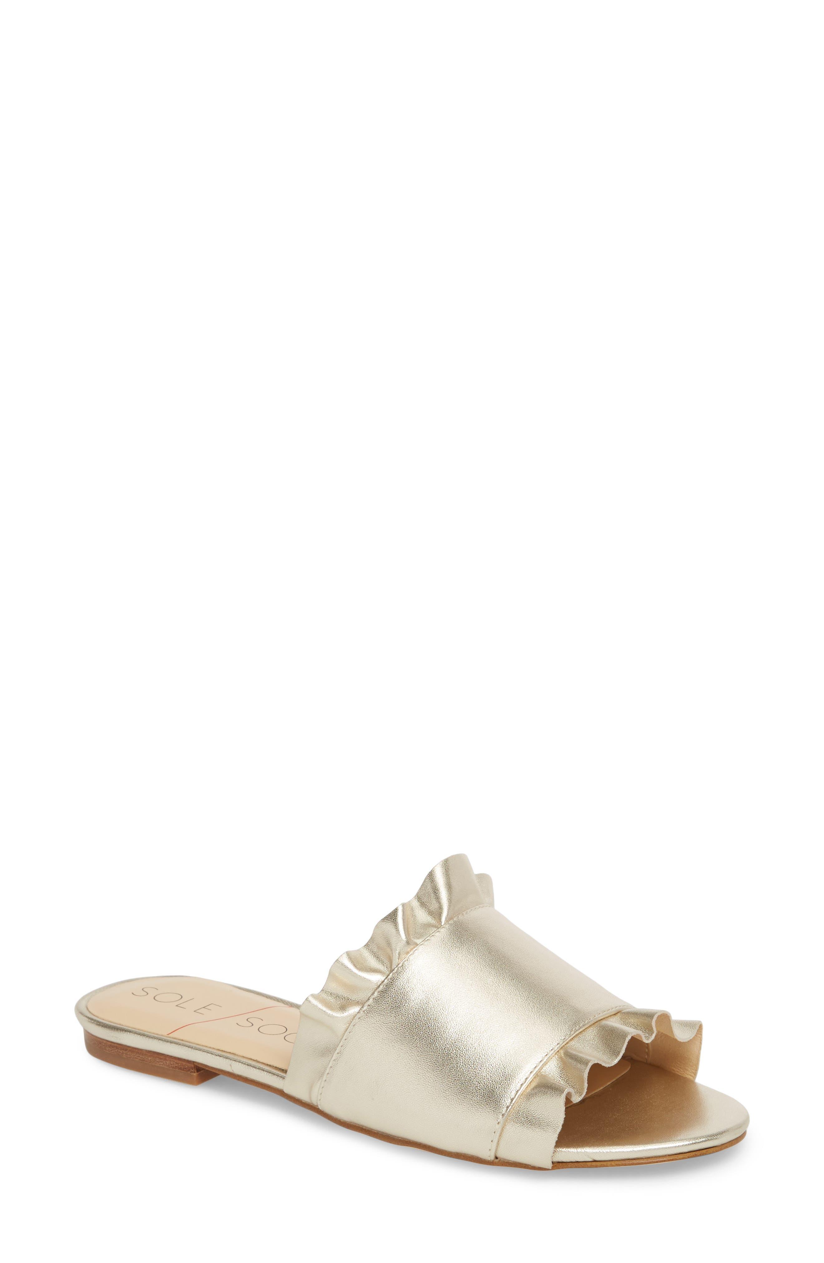 So-Madalayne Flat Sandal,                         Main,                         color, Totes Gold