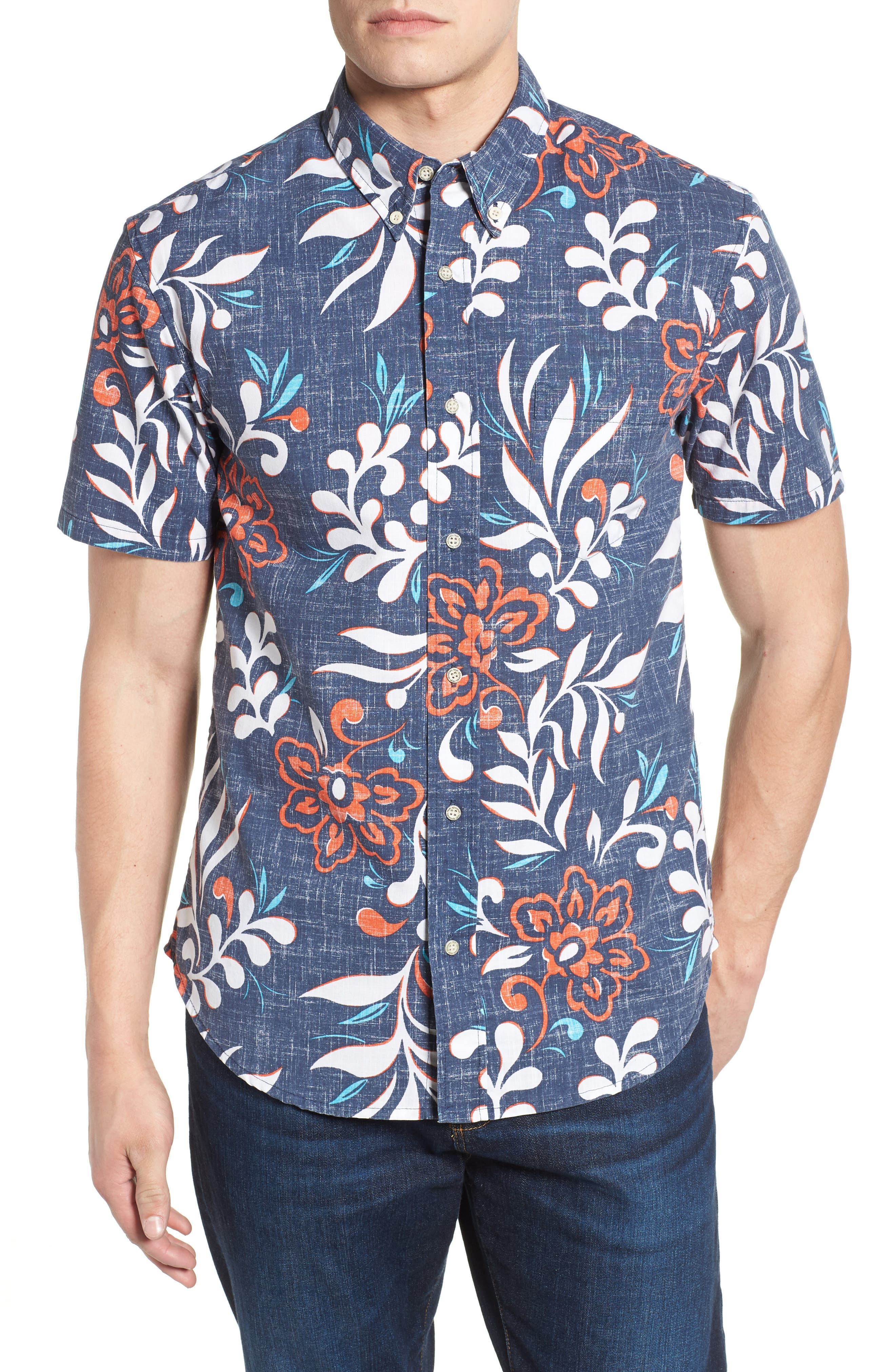 Perennial Pareau Tailored Fit Sport Shirt,                         Main,                         color, Ink