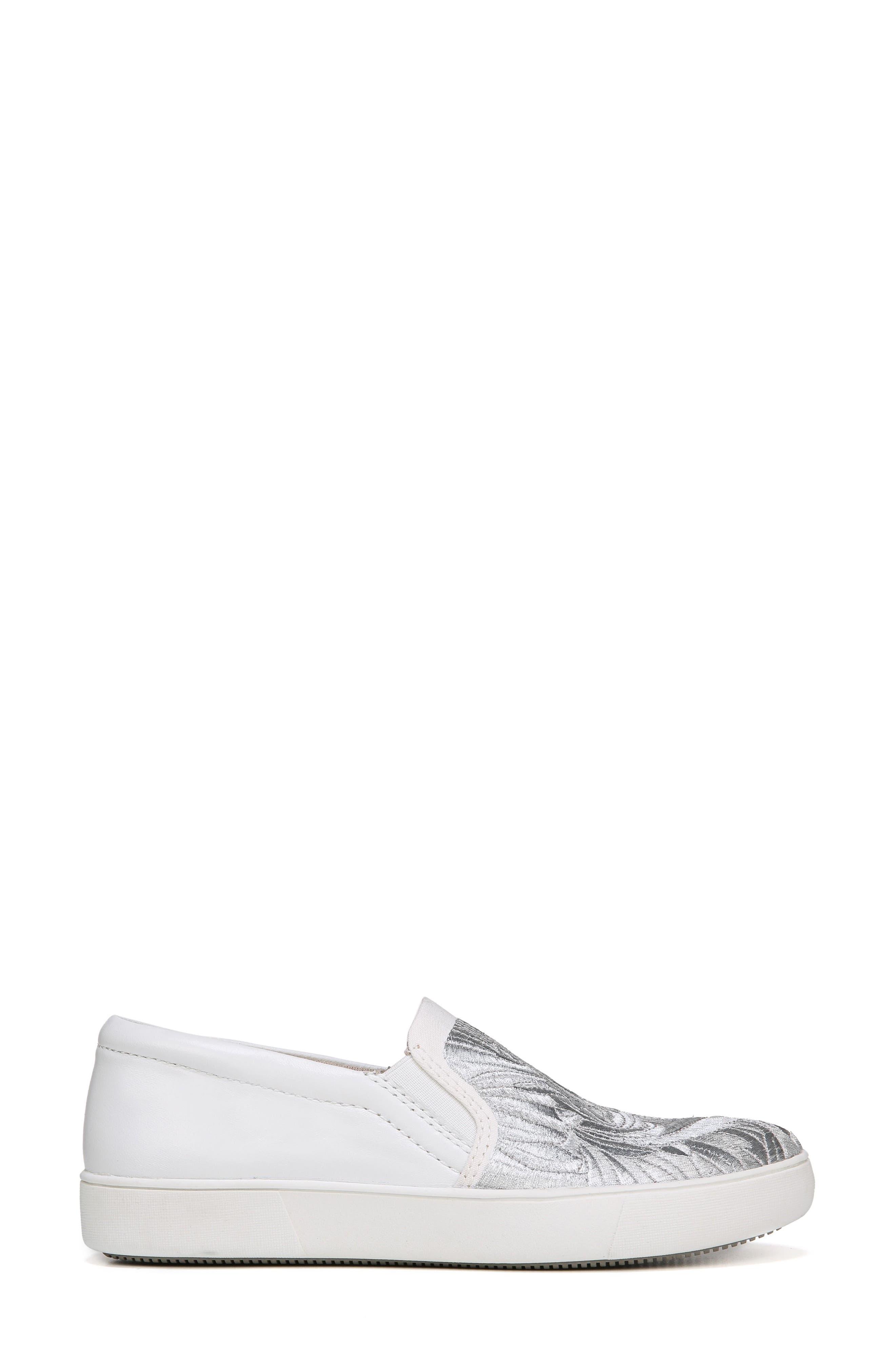 Marianne Slip-On Sneaker,                             Alternate thumbnail 3, color,                             White/ Silver Leather