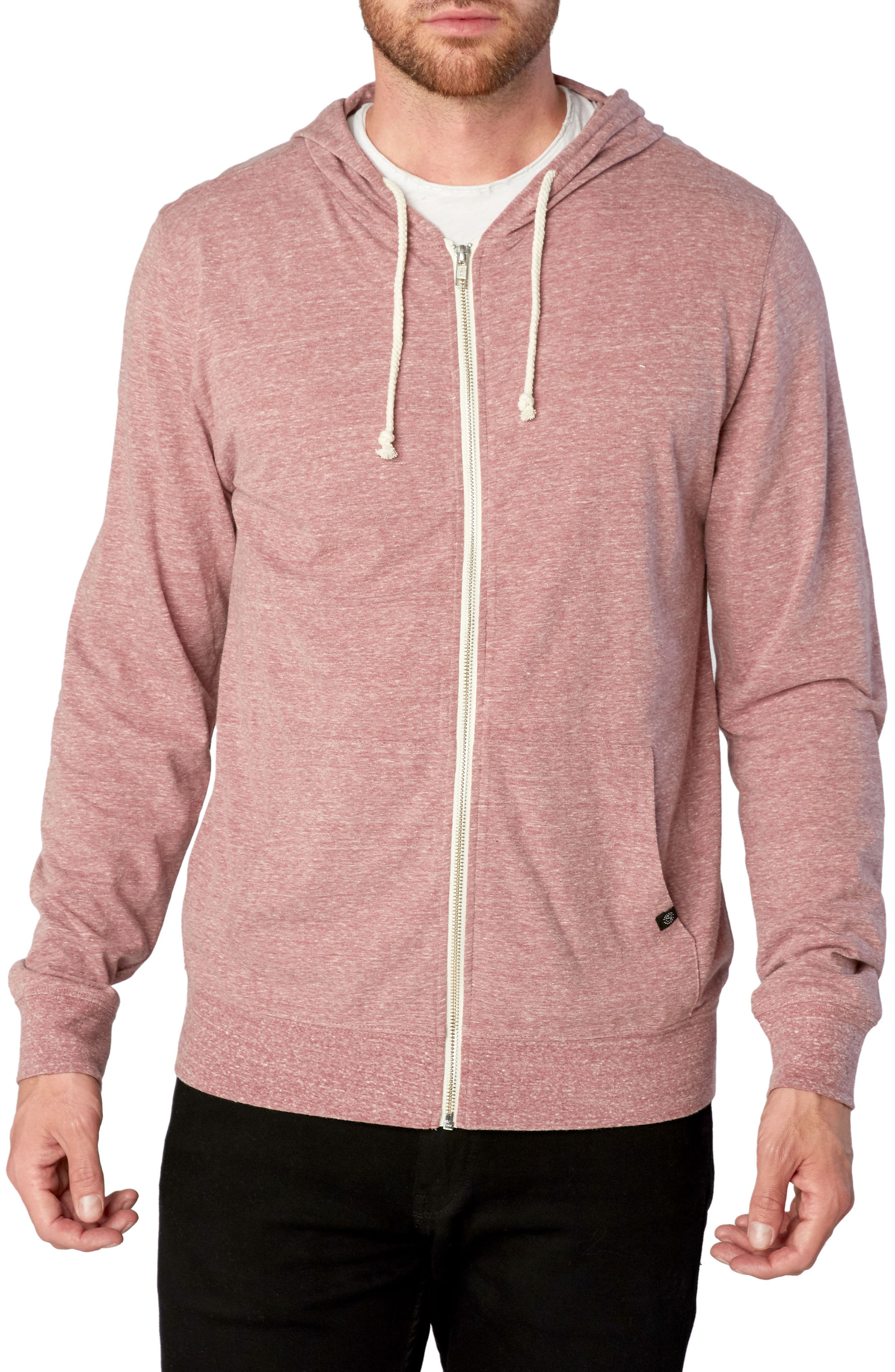 Threads for Thought Giulio Zip Hoodie,                         Main,                         color, Brick Red