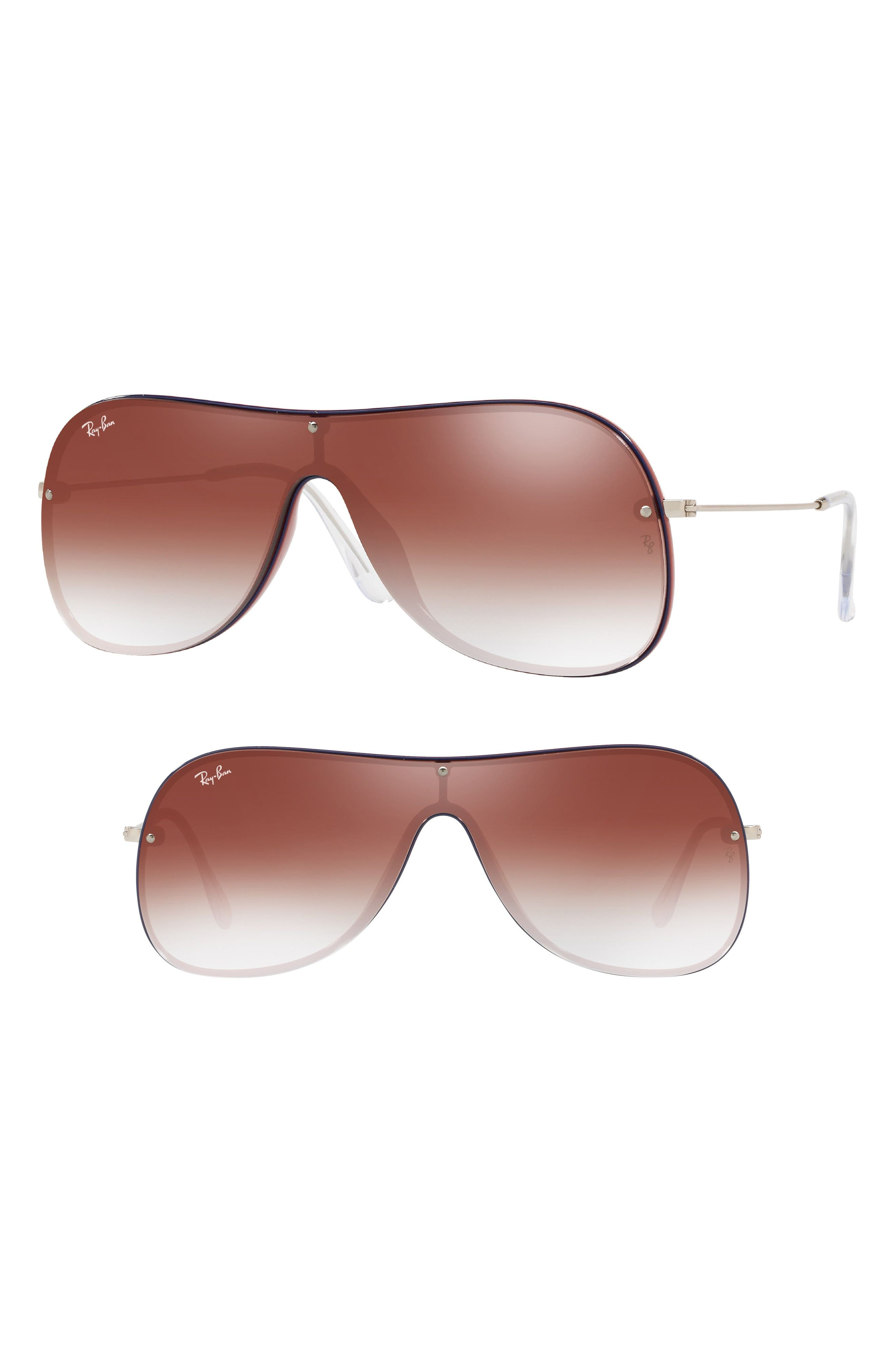 Highstreet 138mm Shield Sunglasses,                             Main thumbnail 1, color,                             Red Gradient Mirror