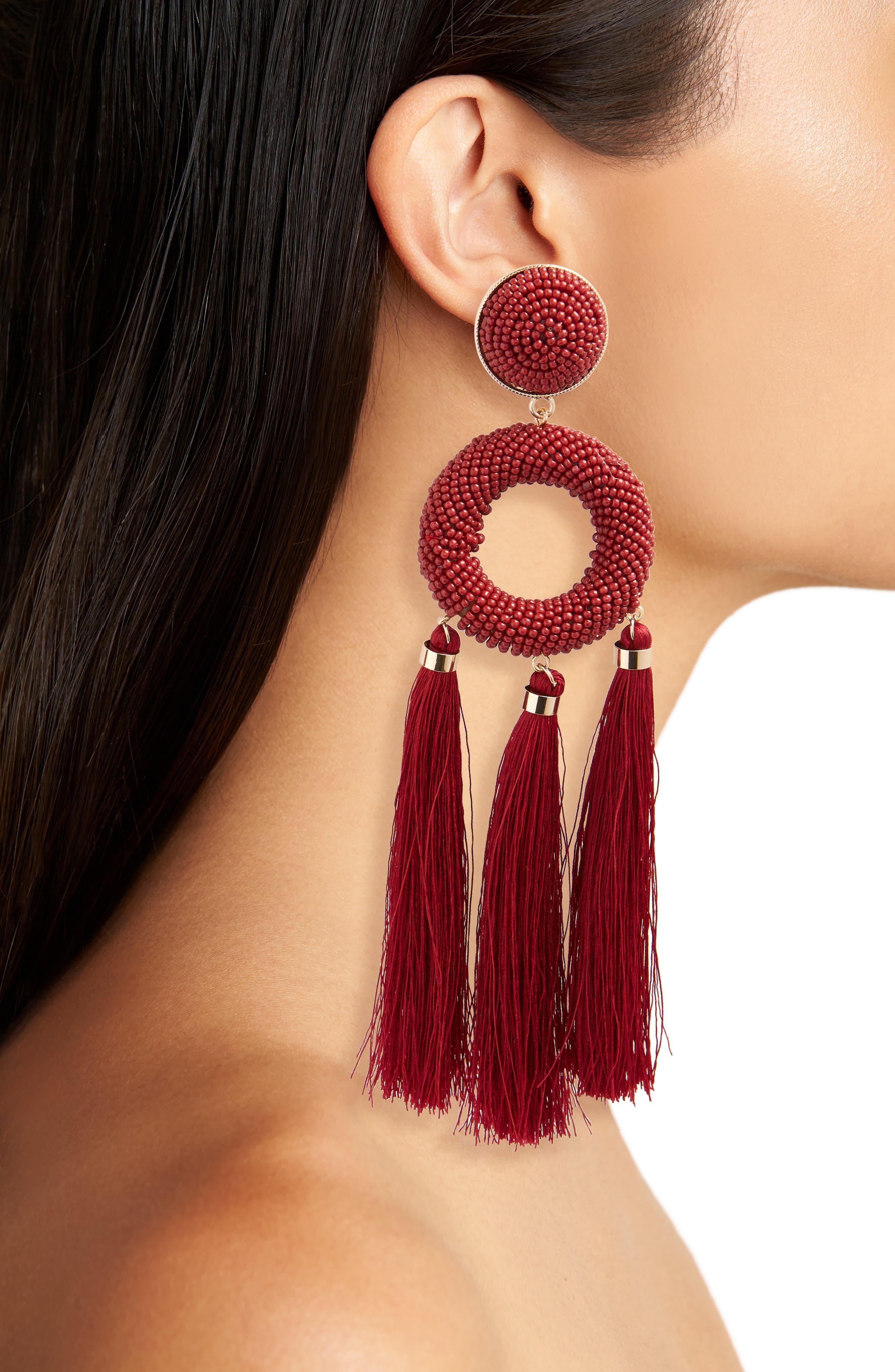 Seed Bead Tassel Earrings,                             Alternate thumbnail 2, color,                             Red