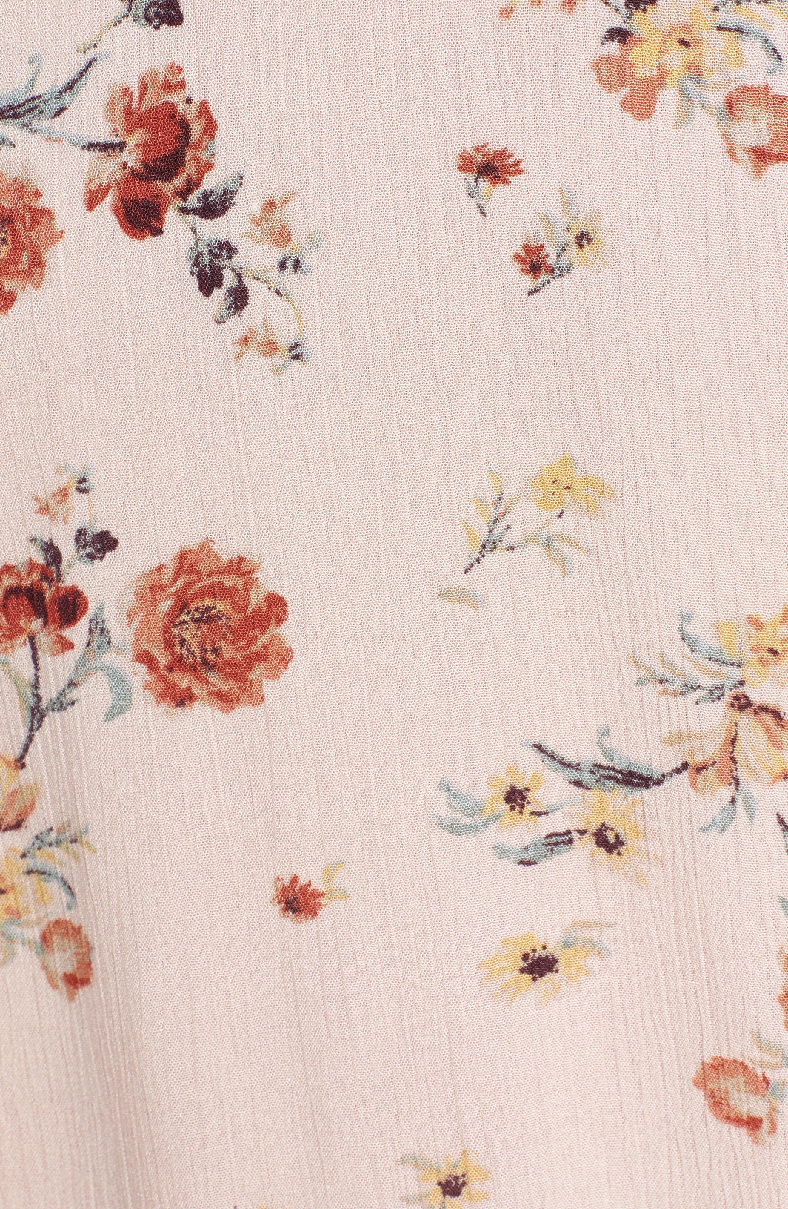 Rosa Floral Tie Front Minidress,                             Alternate thumbnail 7, color,                             Pink Floral