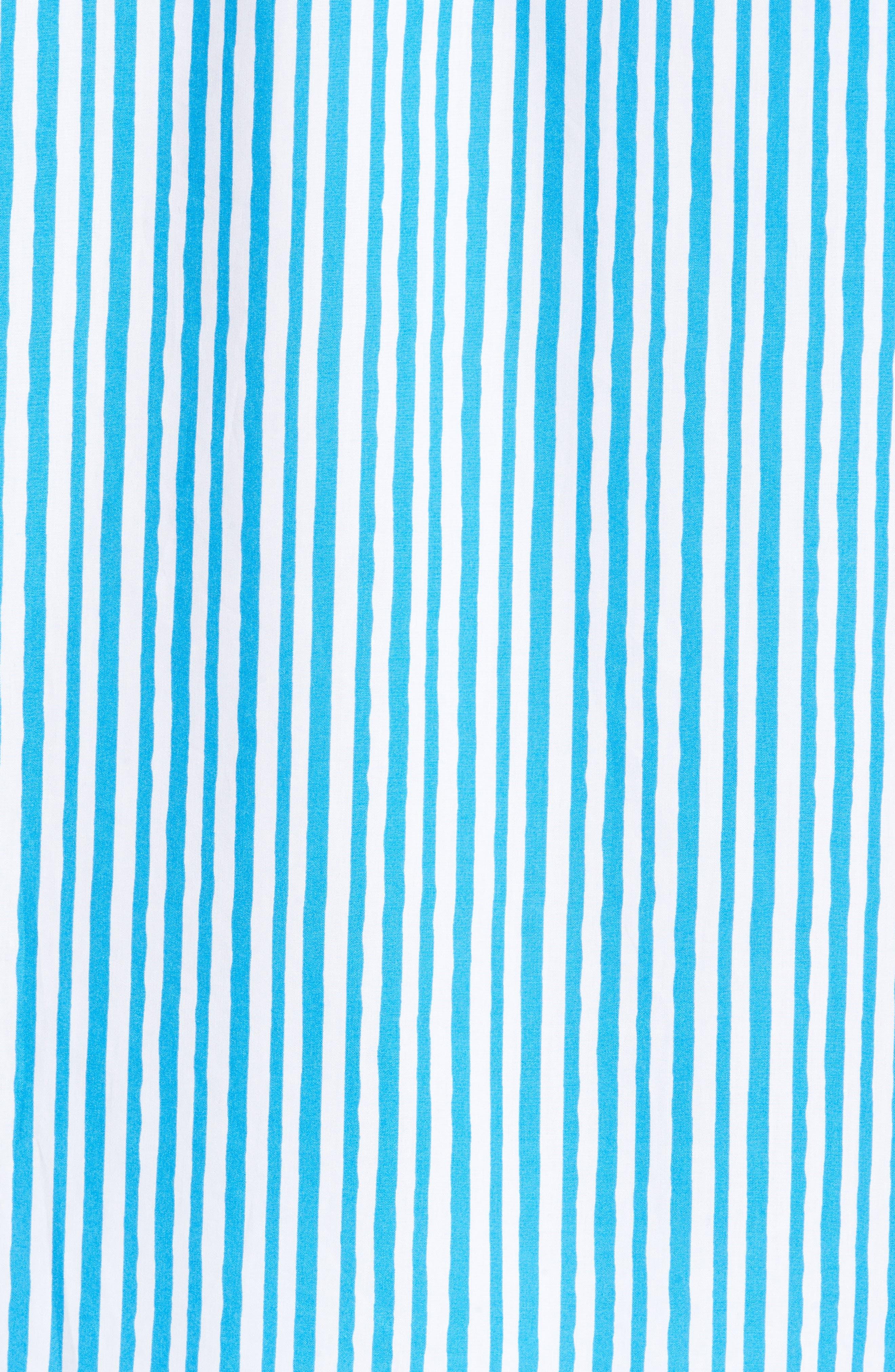 Classic Fit Wavy Stripe Sport Shirt,                             Alternate thumbnail 5, color,                             Turquoise