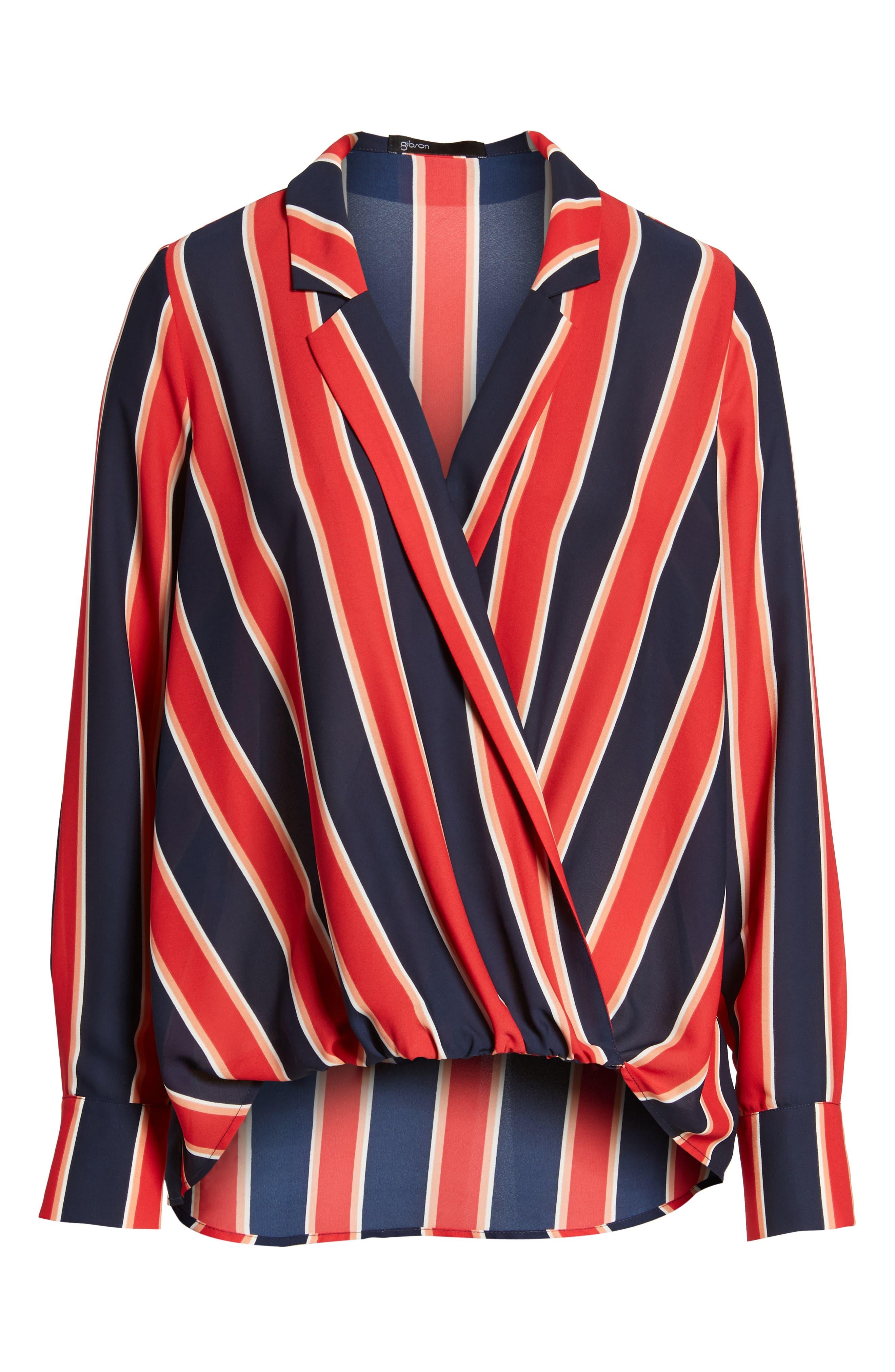 Surplice Drape Front Blouse,                             Alternate thumbnail 6, color,                             Blue/ White/ Red Stripe