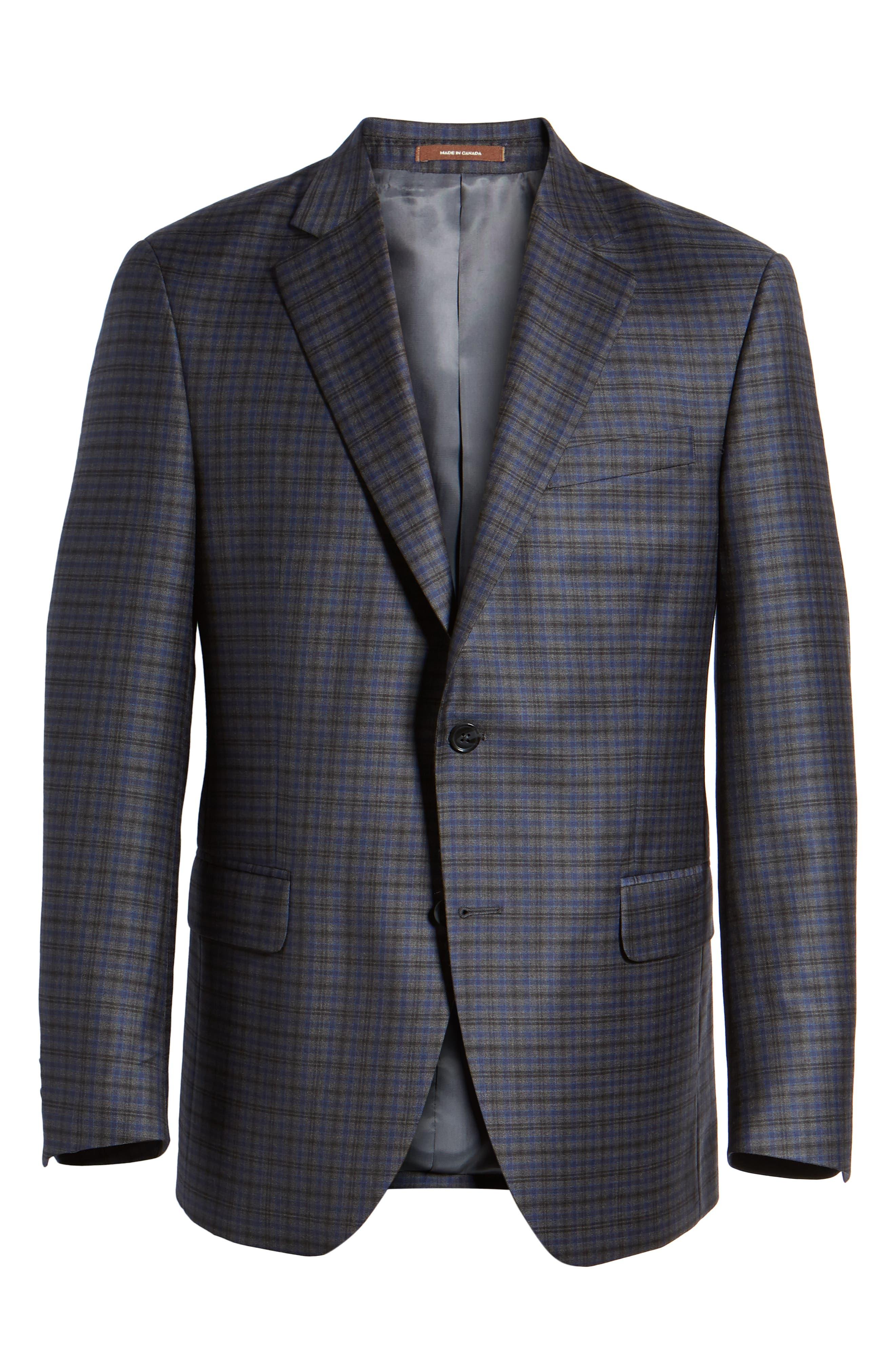Classic Fit Windowpane Check Wool Sport Coat,                             Alternate thumbnail 6, color,                             Grey