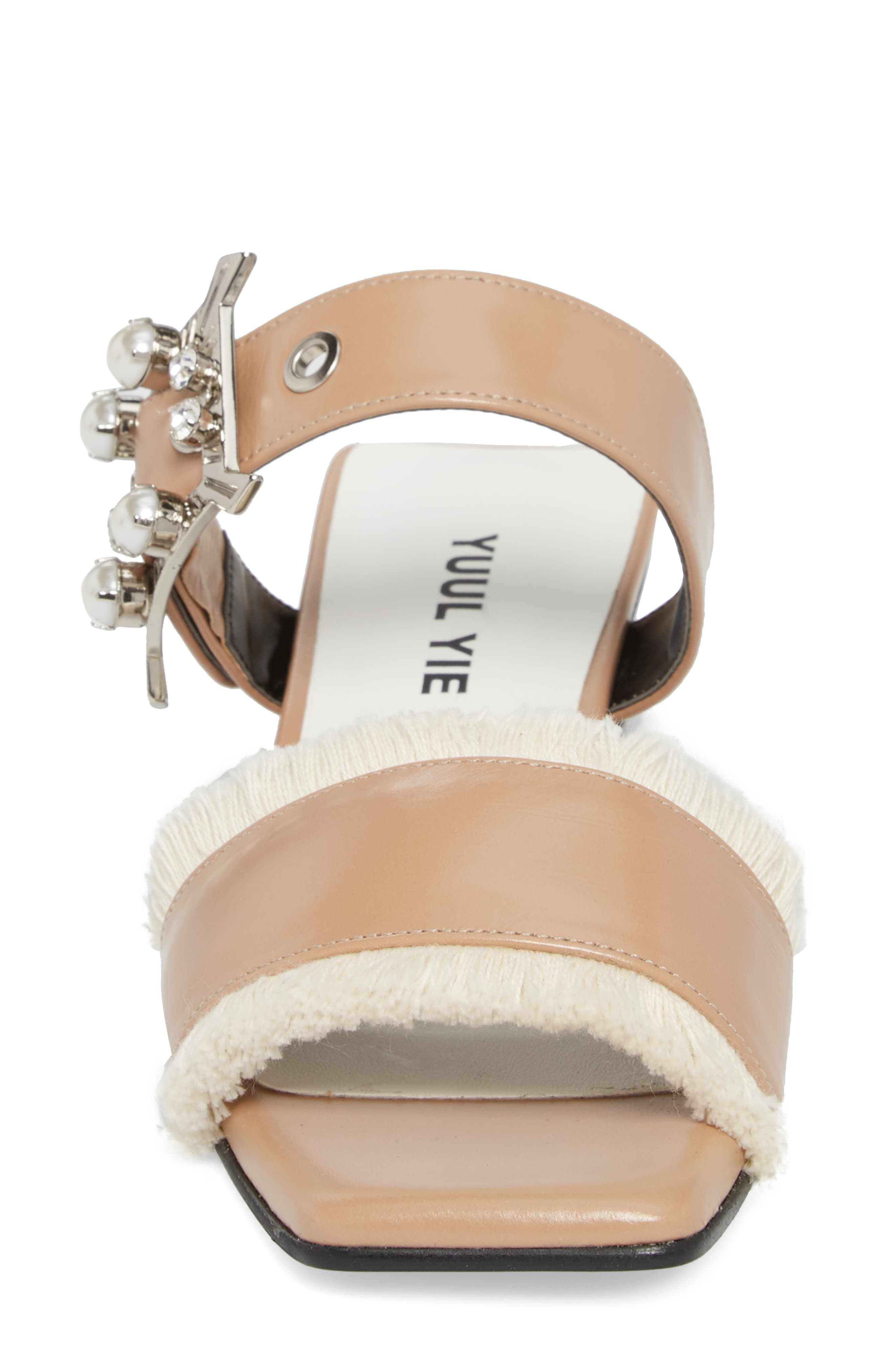 Embellished Slide Sandal,                             Alternate thumbnail 4, color,                             Skin Beige