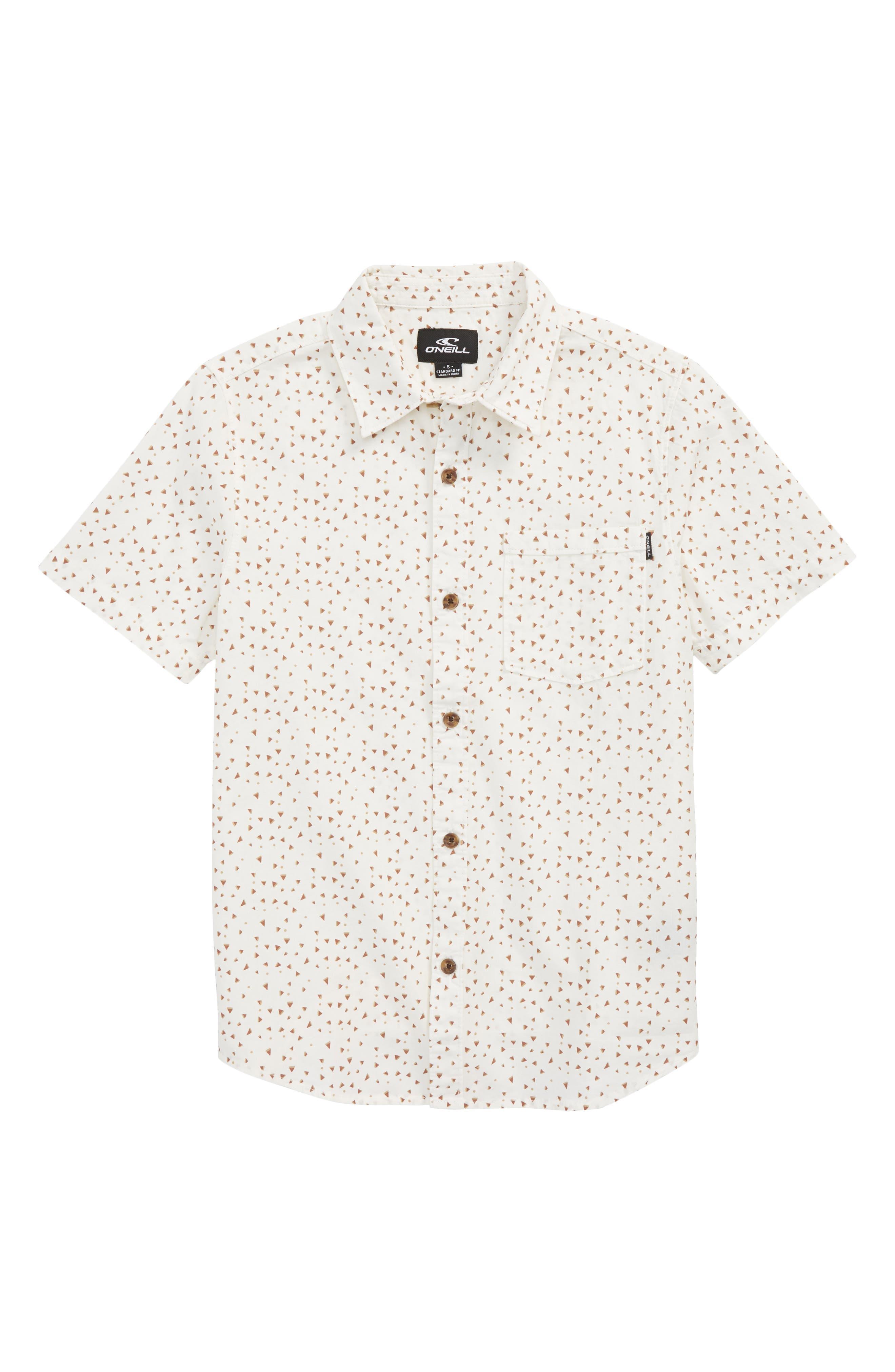 Rowdy Print Woven Shirt,                         Main,                         color, White