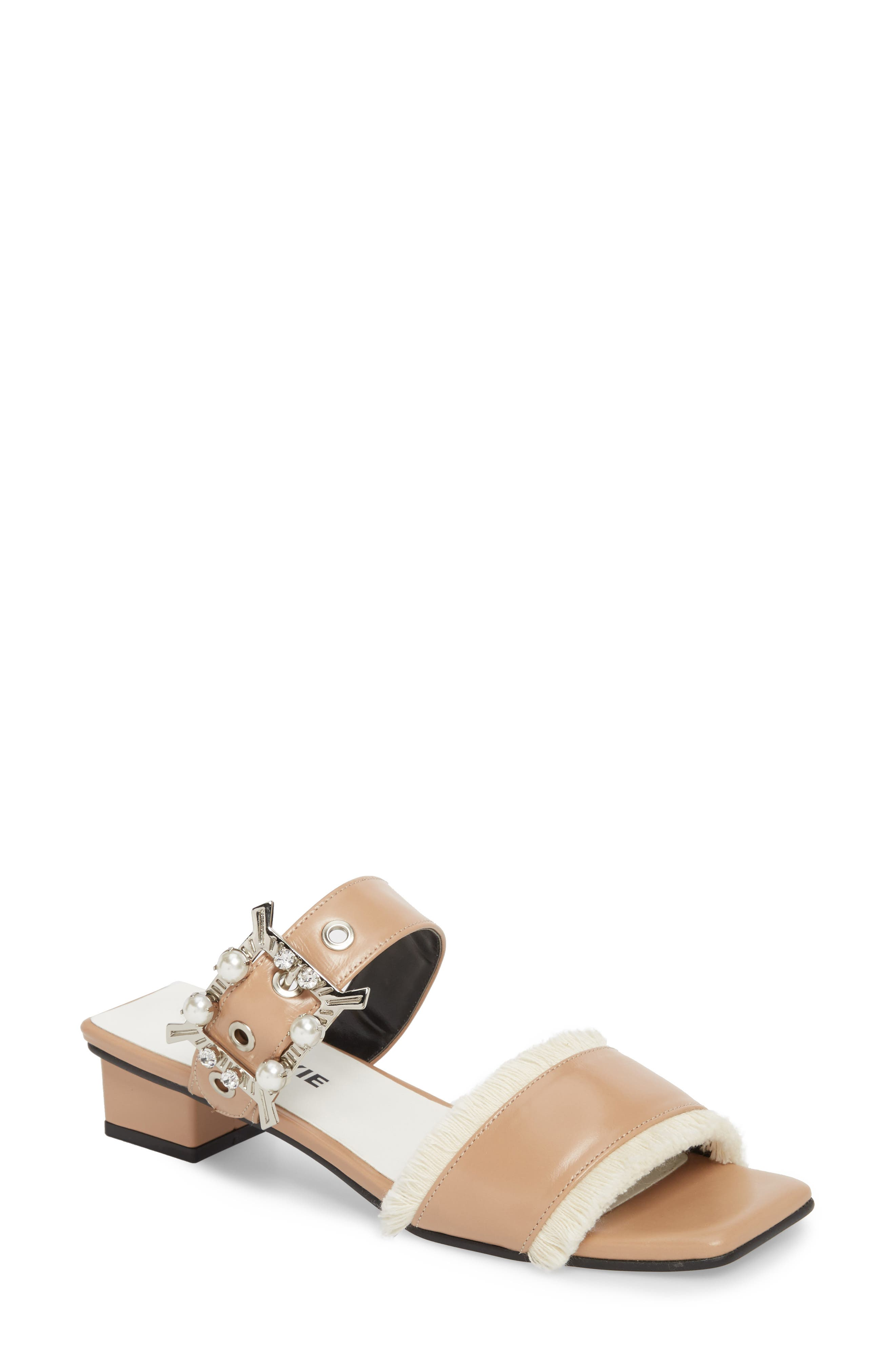 Embellished Slide Sandal,                             Main thumbnail 1, color,                             Skin Beige