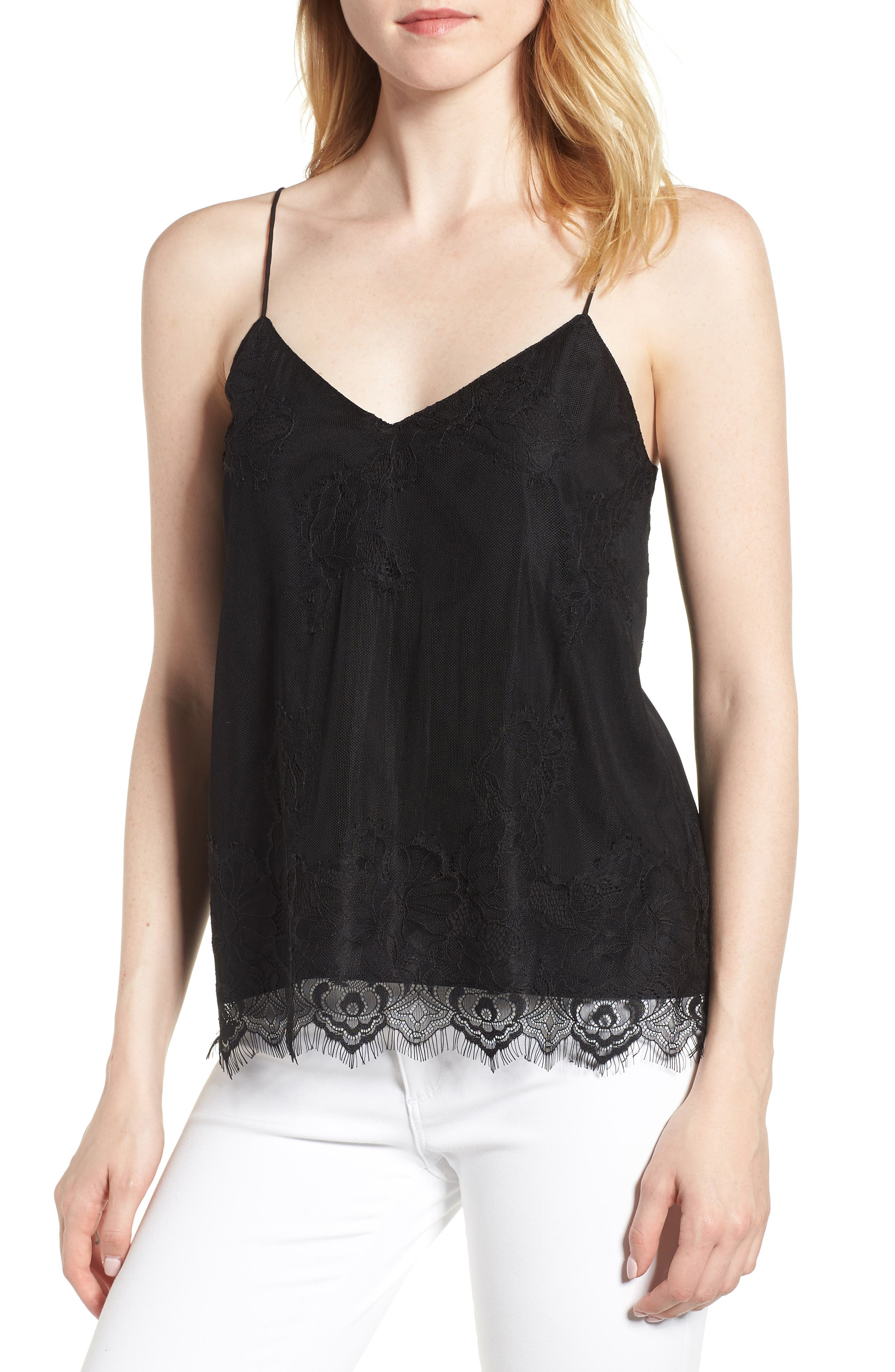 Lace Camisole,                         Main,                         color, Black