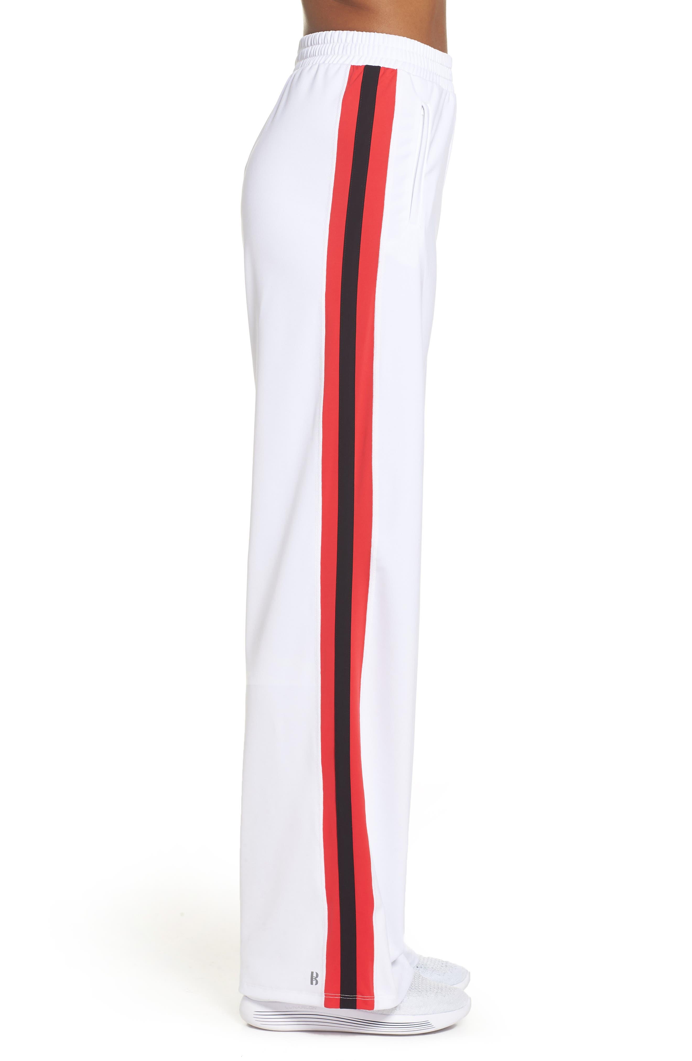 Wide Leg Track Pants,                             Alternate thumbnail 3, color,                             White/ Red/ Black