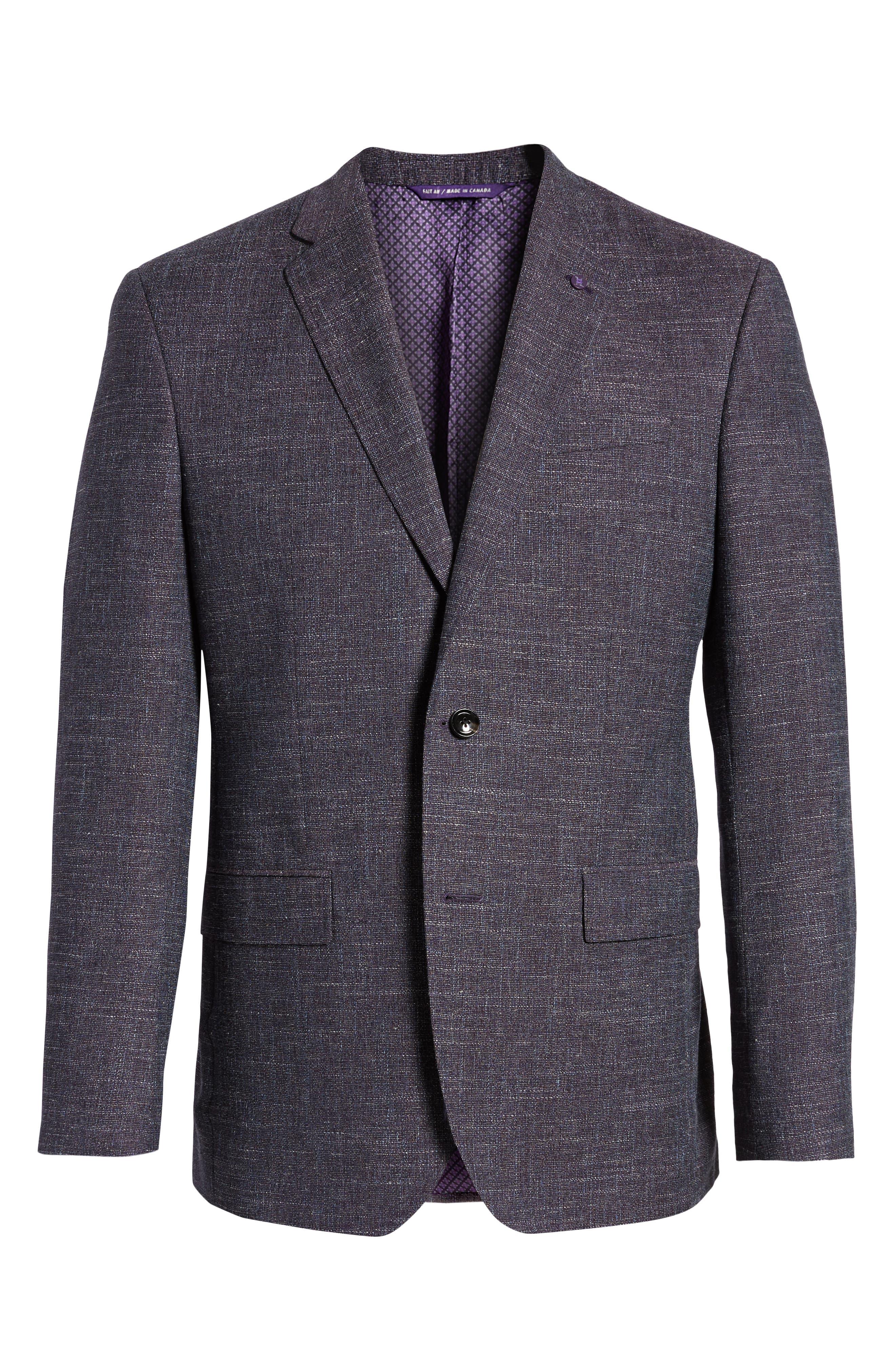 Jay Trim Fit Slubbed Wool, Cotton & Linen Sport Coat,                             Alternate thumbnail 6, color,                             Plum