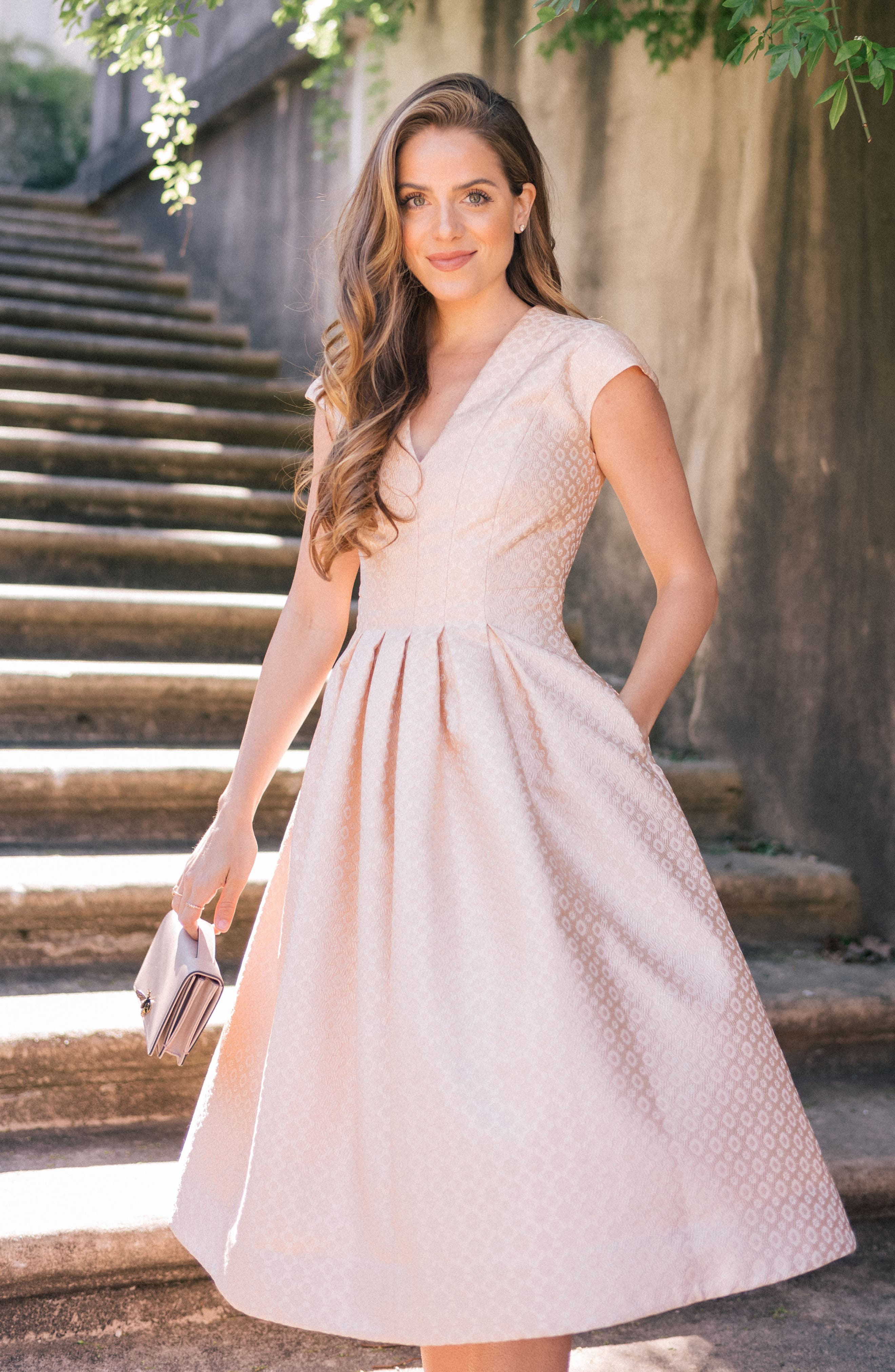Grace Pleated Jacquard Fit & Flare Dress,                             Alternate thumbnail 2, color,                             Cream
