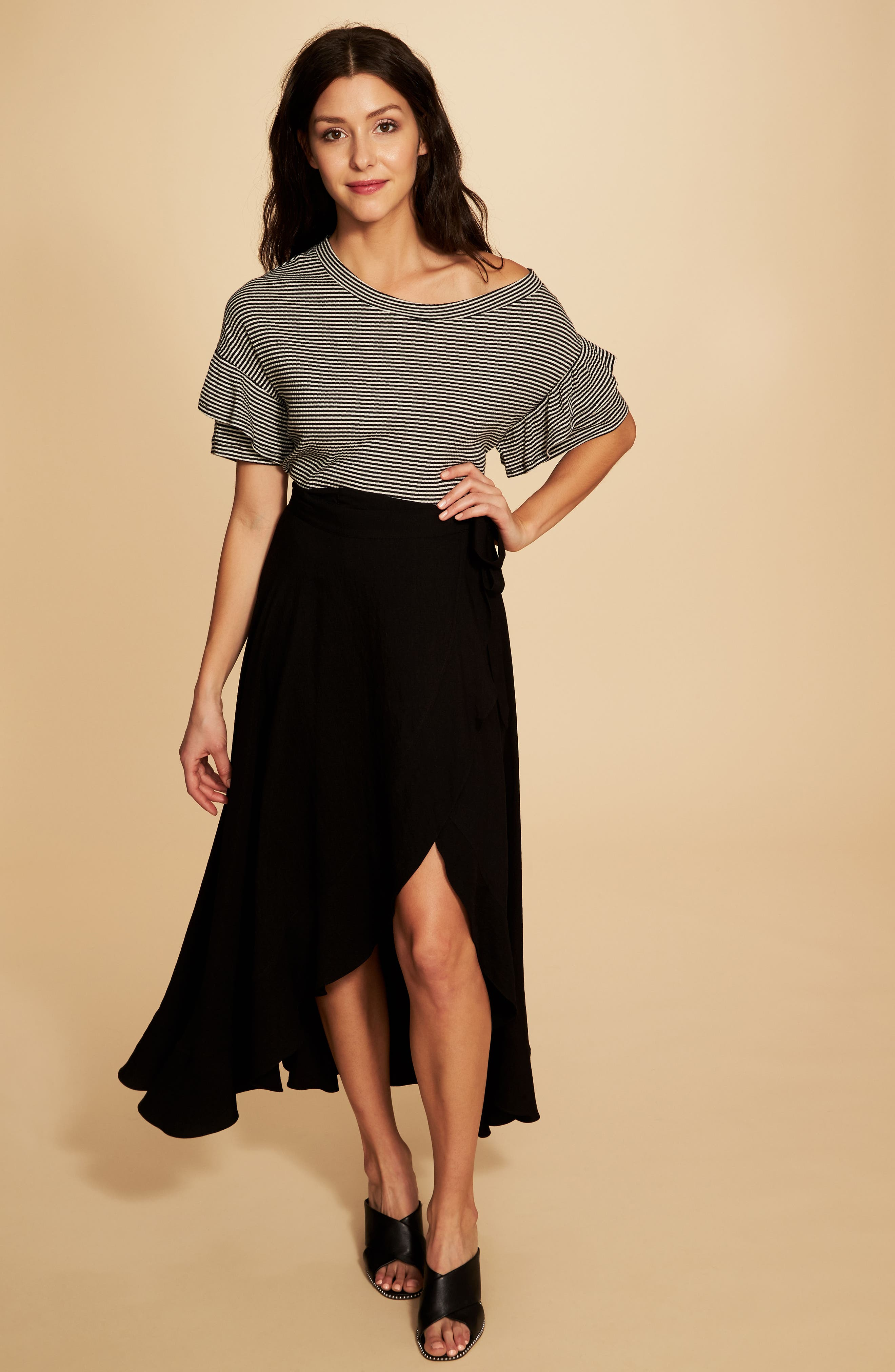 Ruffle Off the Shoulder Tee,                             Alternate thumbnail 2, color,                             Rich Black