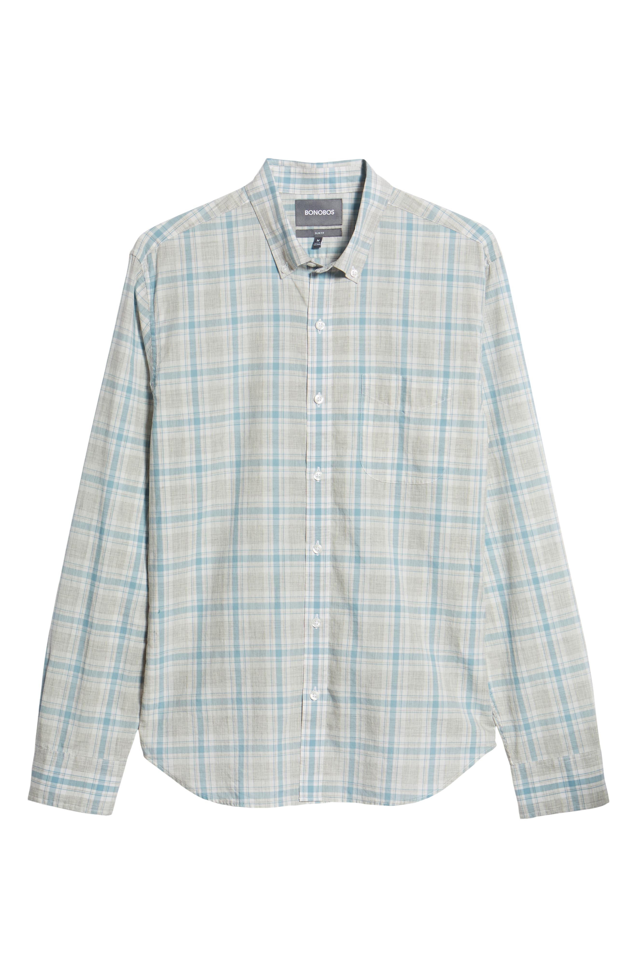 Summerweight Slim Fit Plaid Sport Shirt,                             Alternate thumbnail 6, color,                             Hobbs Plaid - Grey Heather