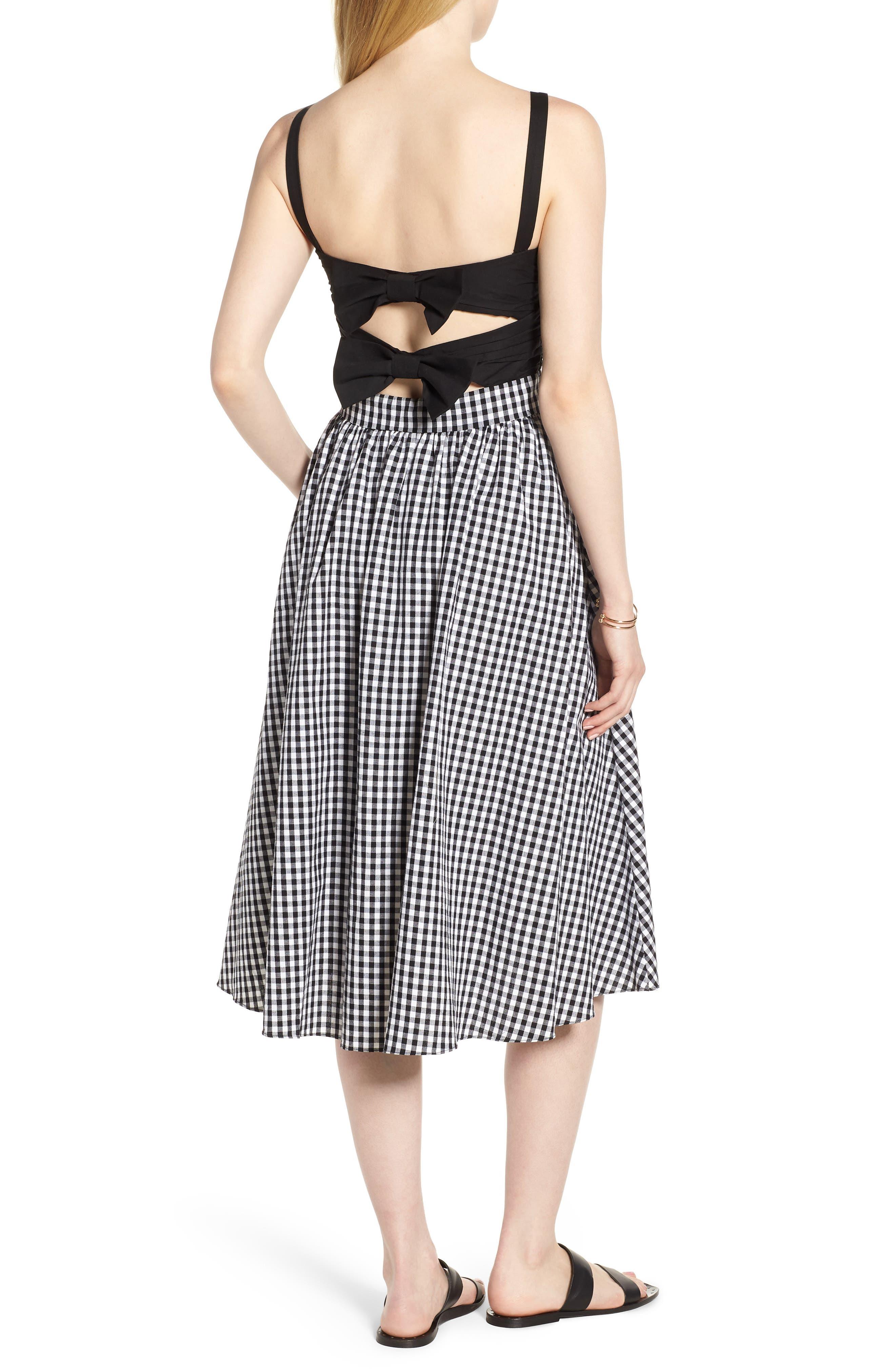 Bow Back Gingham Dress,                             Alternate thumbnail 2, color,                             Black- White Gingham