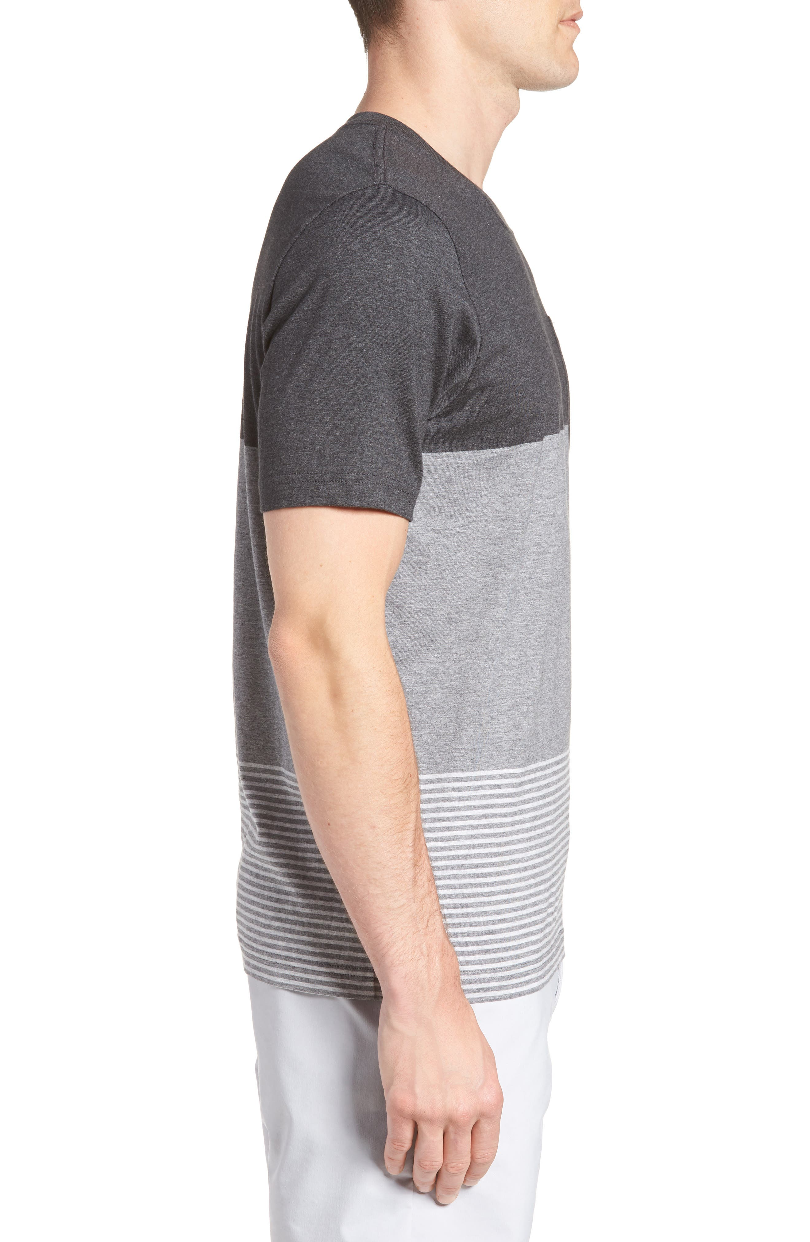 Kramp Colorblock Pocket T-Shirt,                             Alternate thumbnail 3, color,                             Heather Grey Pinstripe