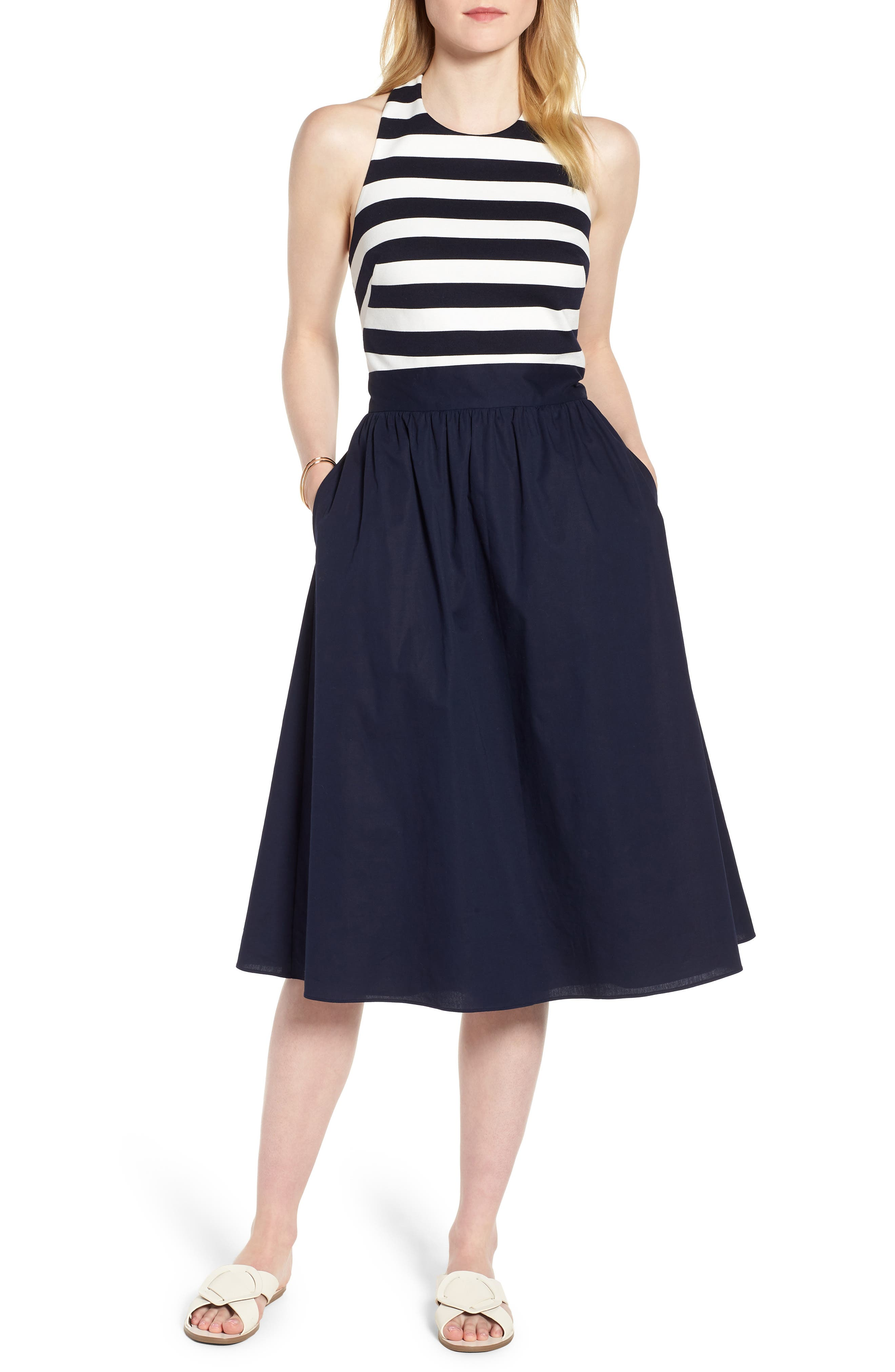 Stripe Halter Fit & Flare Dress,                         Main,                         color, Navy- White