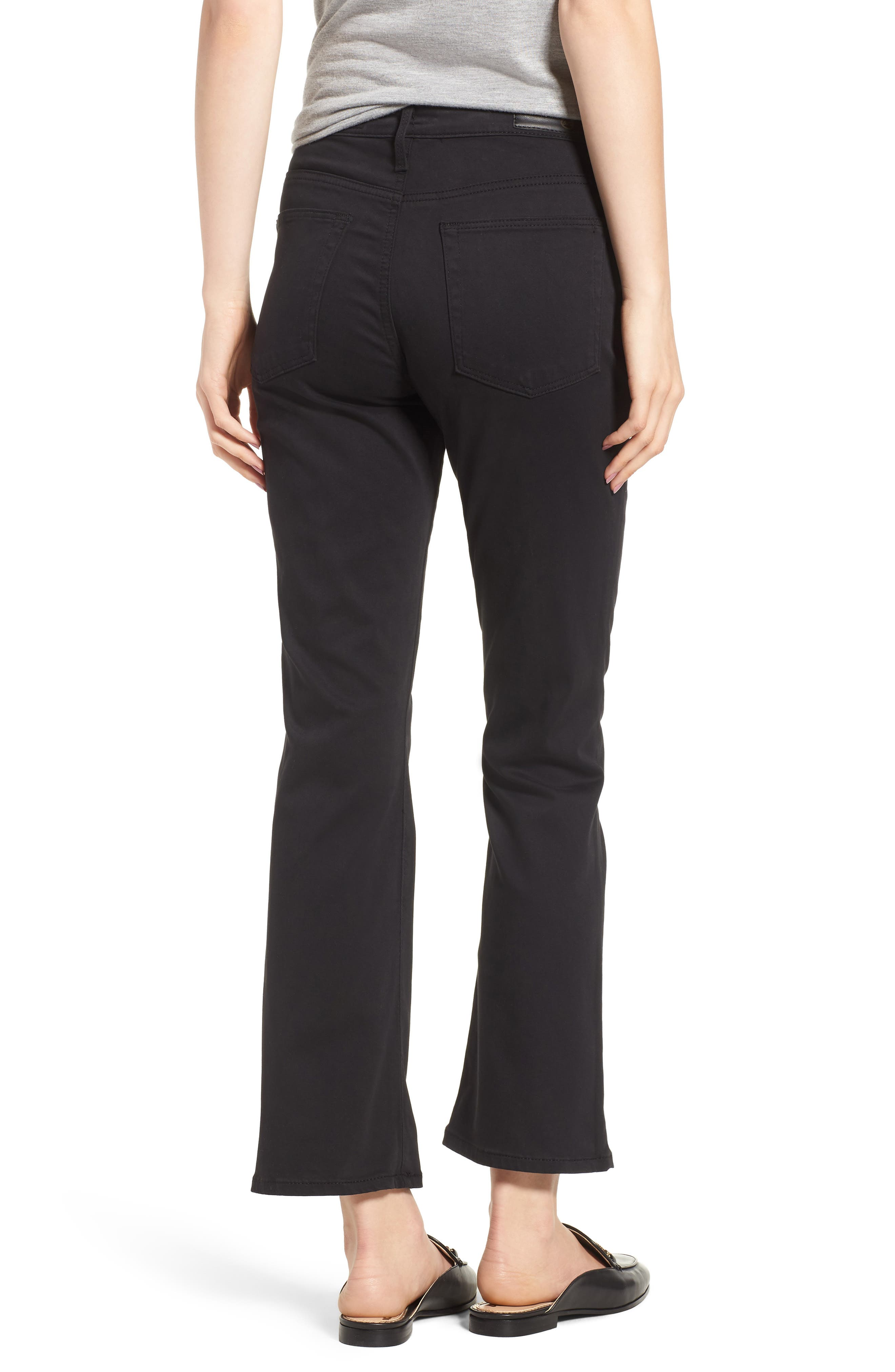 Jodi Sateen Crop Flare Jeans,                             Alternate thumbnail 2, color,                             Super Black