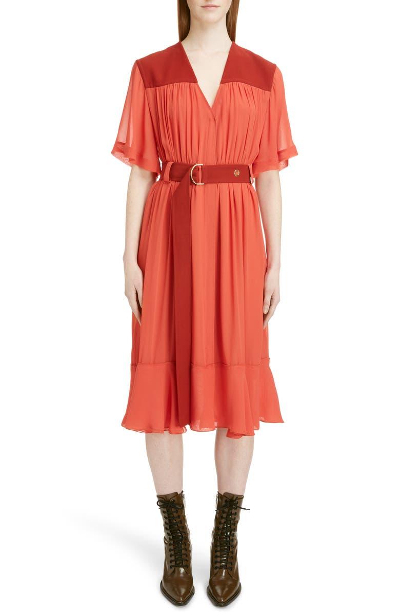 Belted Crepe Midi Dress
