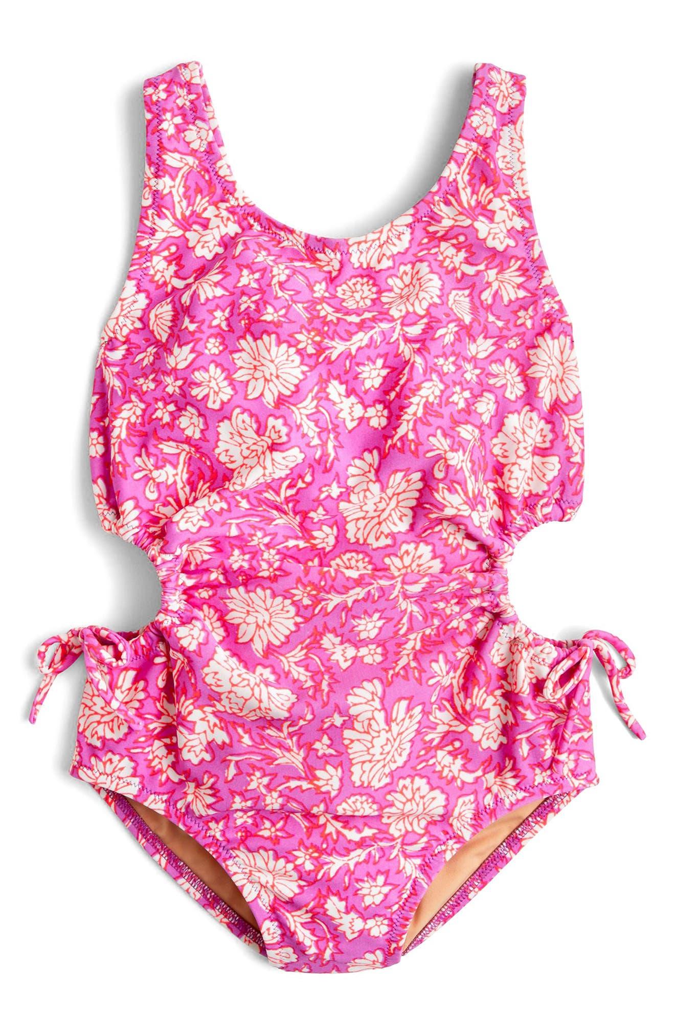 SZ Blockprints<sup>™</sup> Floral One-Piece Swimsuit,                         Main,                         color, Ivory Lavender Multi