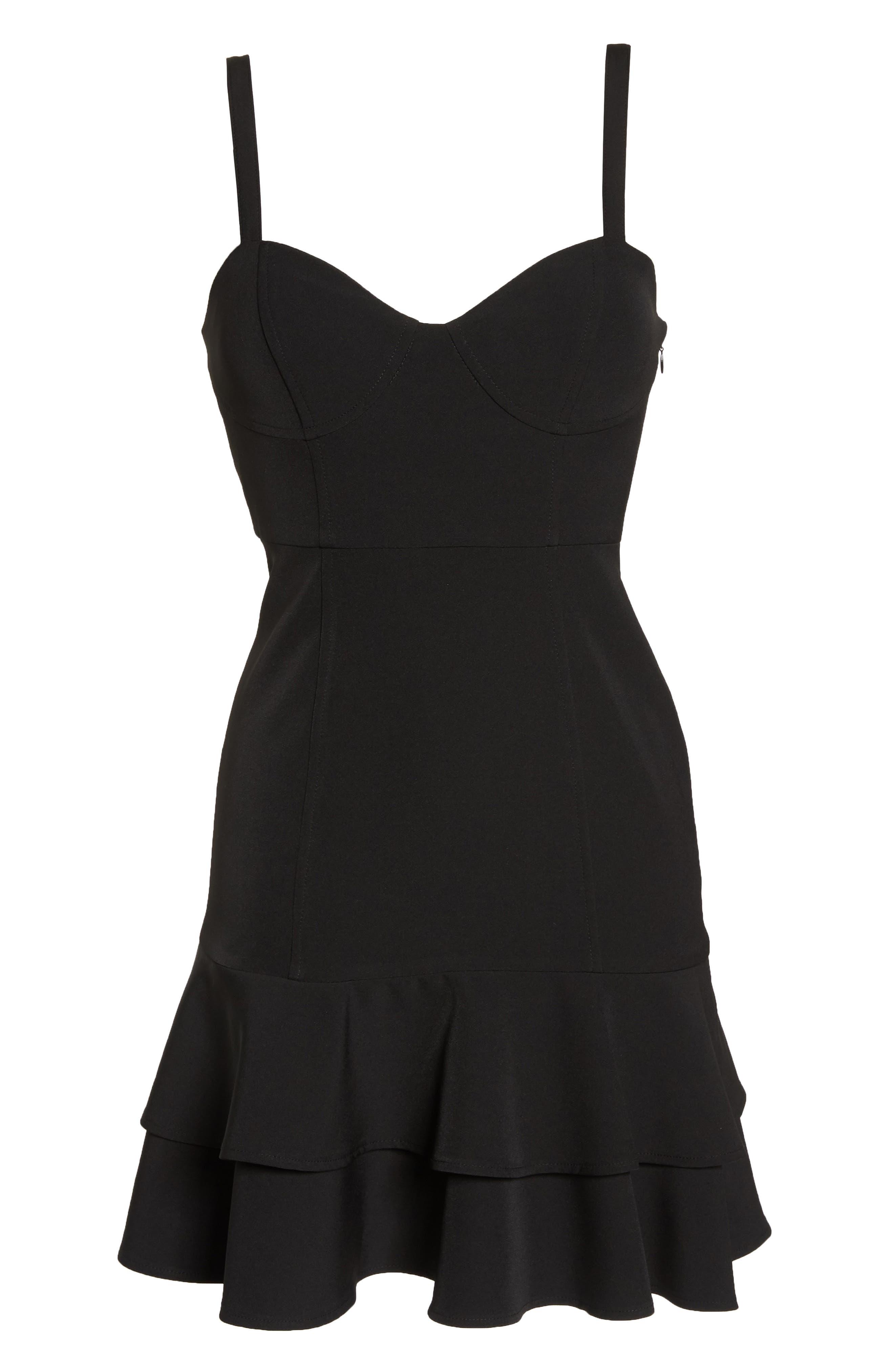 Bustier Ruffle Hem Dress,                             Alternate thumbnail 7, color,                             Black