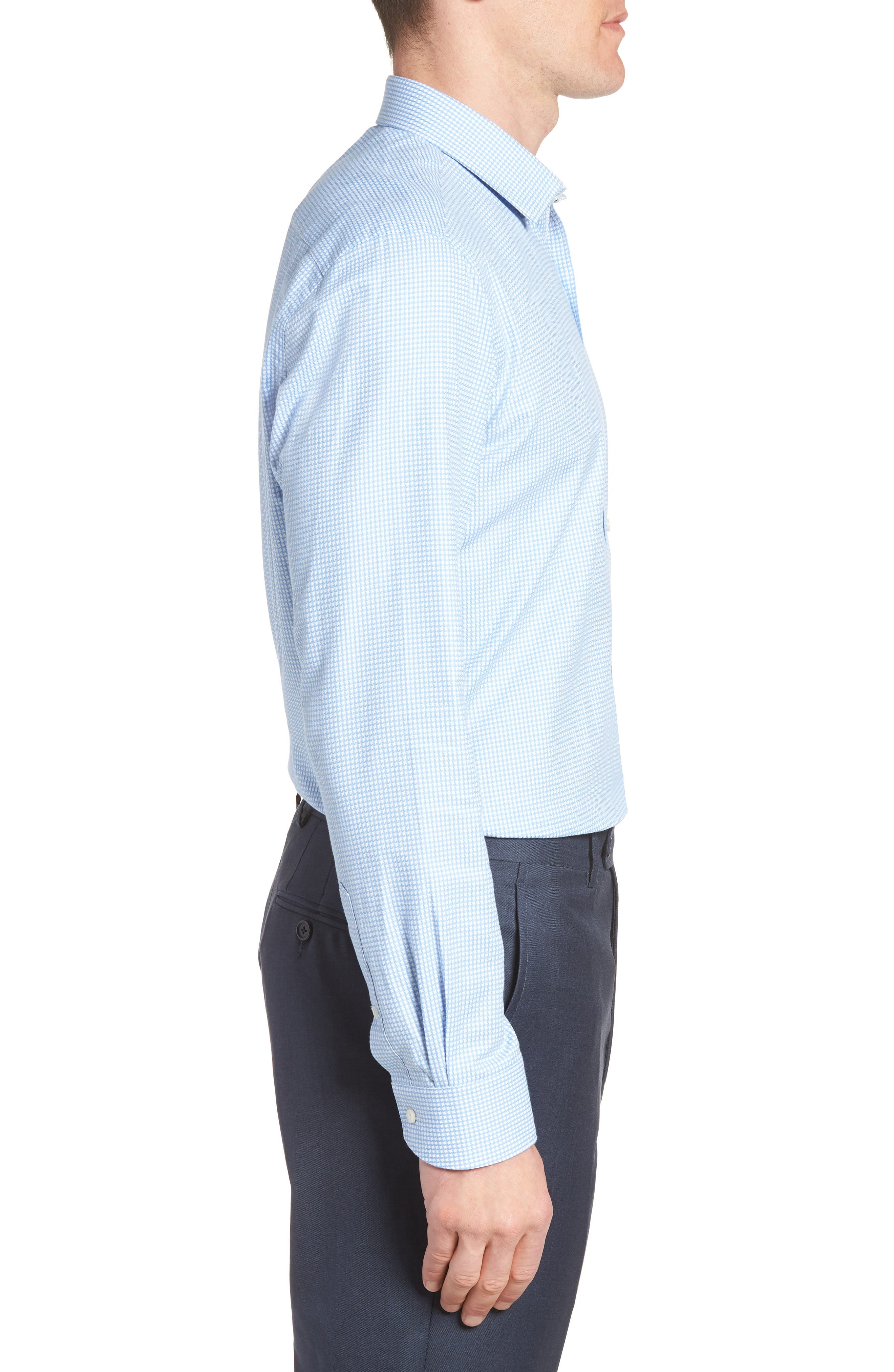 Jaiden Trim Fit Houndstooth Dress Shirt,                             Alternate thumbnail 4, color,                             Light Blue