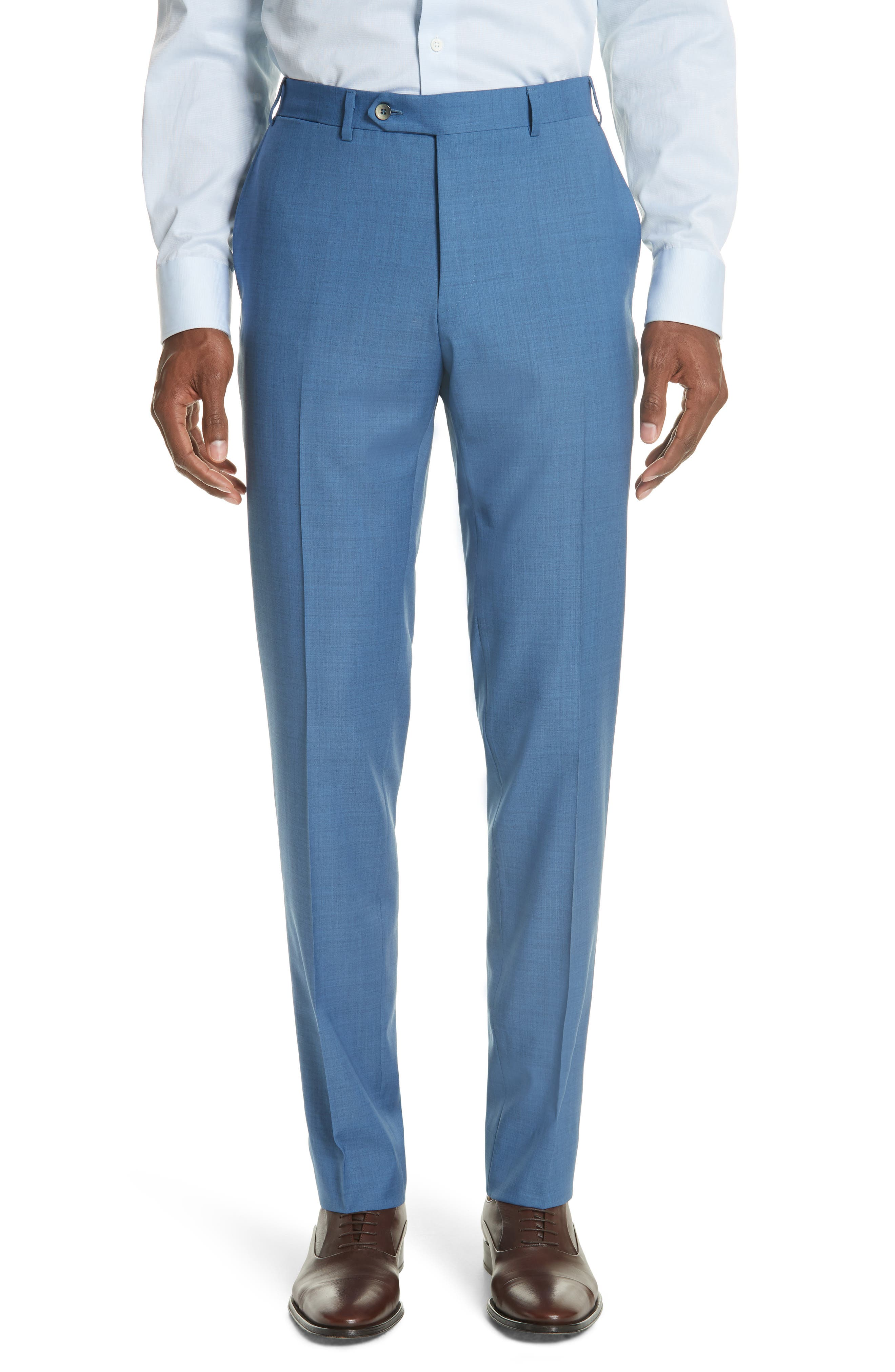 Kei Flat Front Solid Wool Trousers,                         Main,                         color, Blue