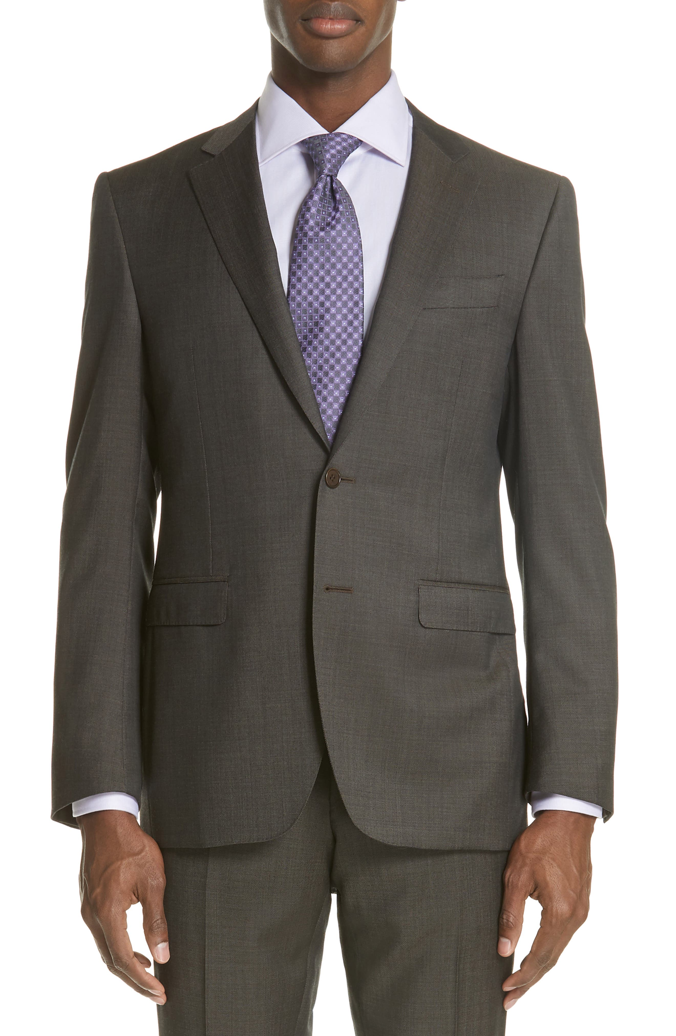 Classic Fit Solid Wool Suit,                             Alternate thumbnail 5, color,                             Grey