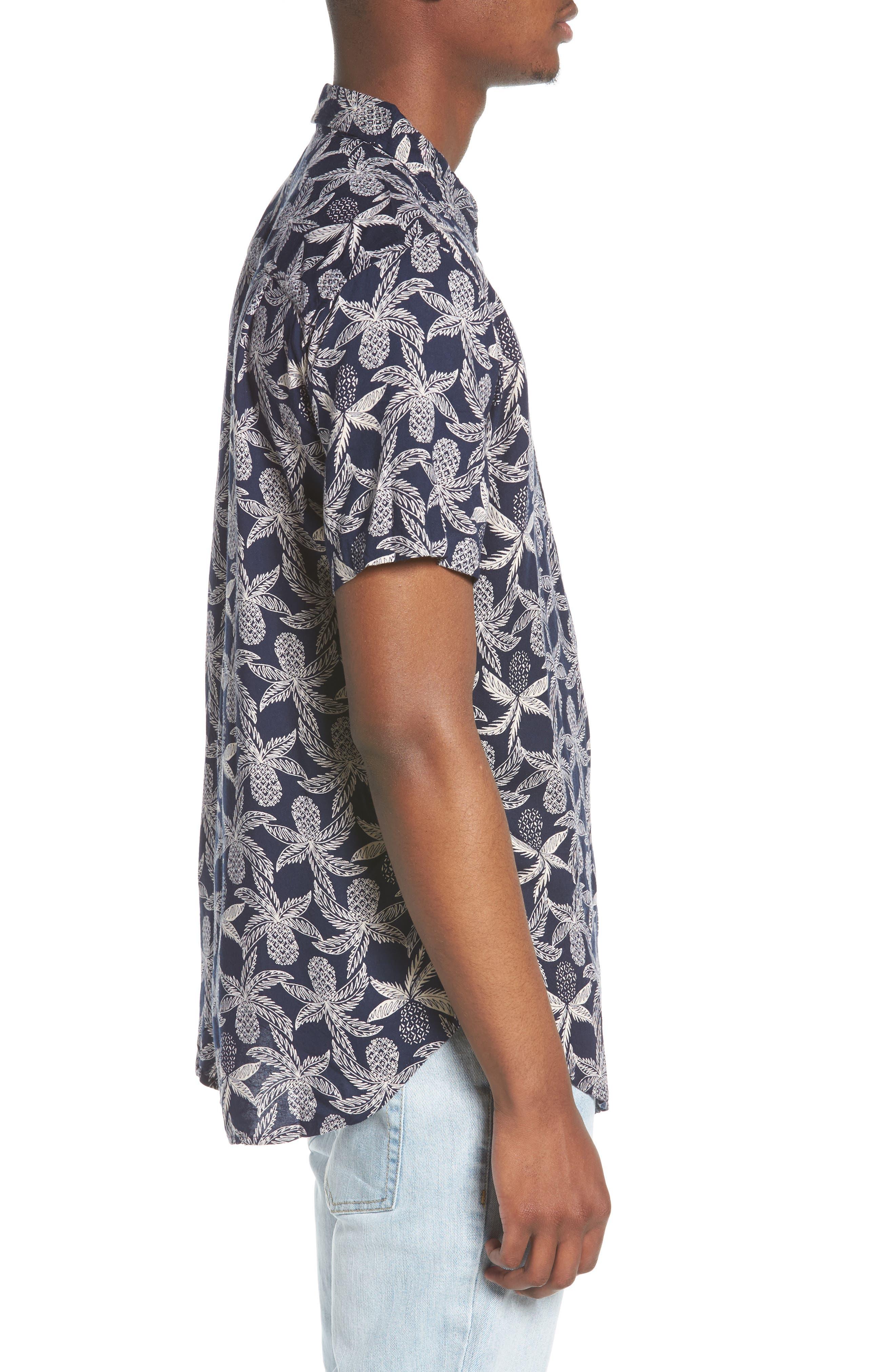Vacay Woven Shirt,                             Alternate thumbnail 4, color,                             Navy Multi