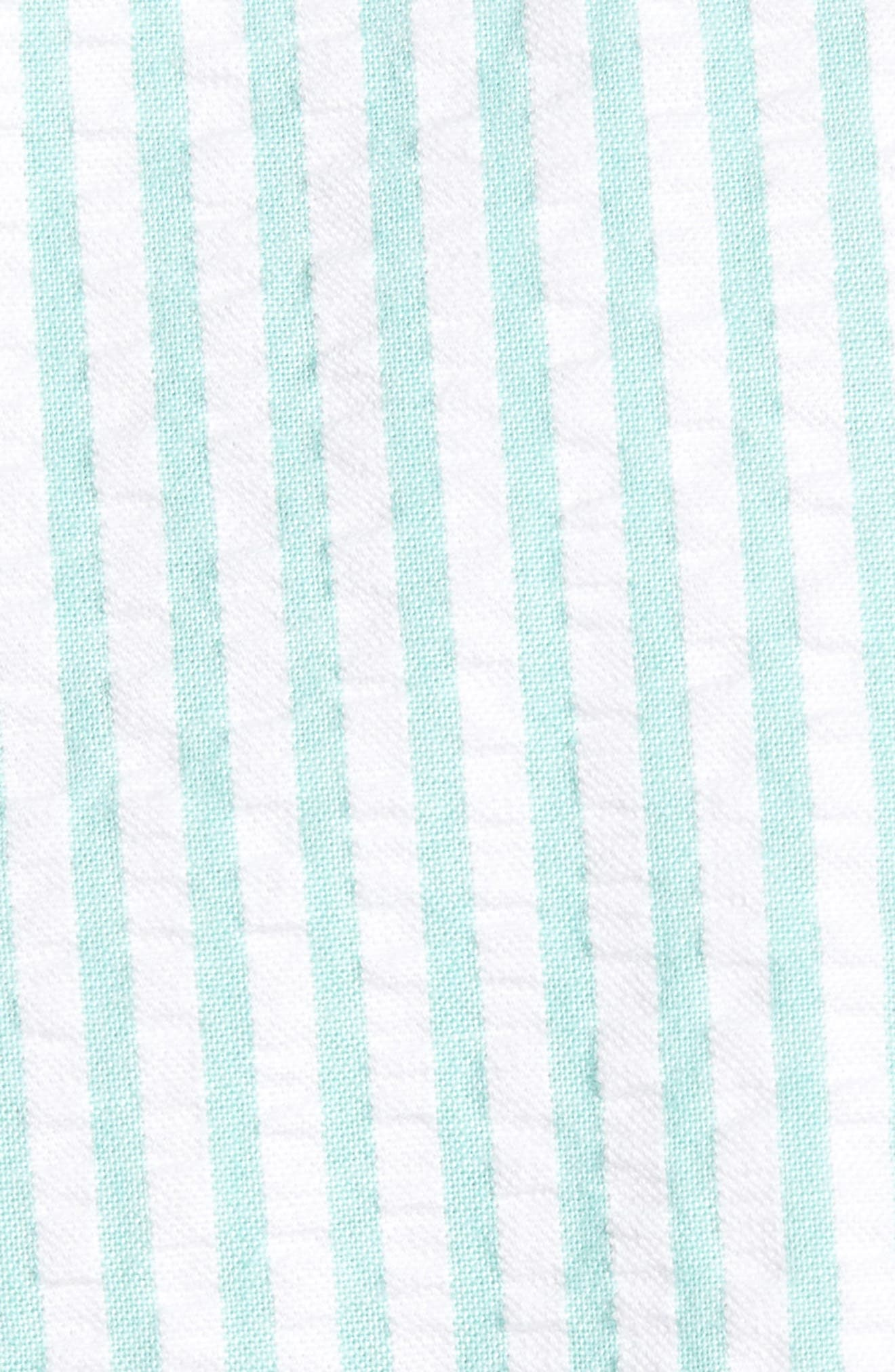 Trim Fit Seersucker Short Sleeve Sport Shirt,                             Alternate thumbnail 5, color,                             White Green Seersucker Stripe