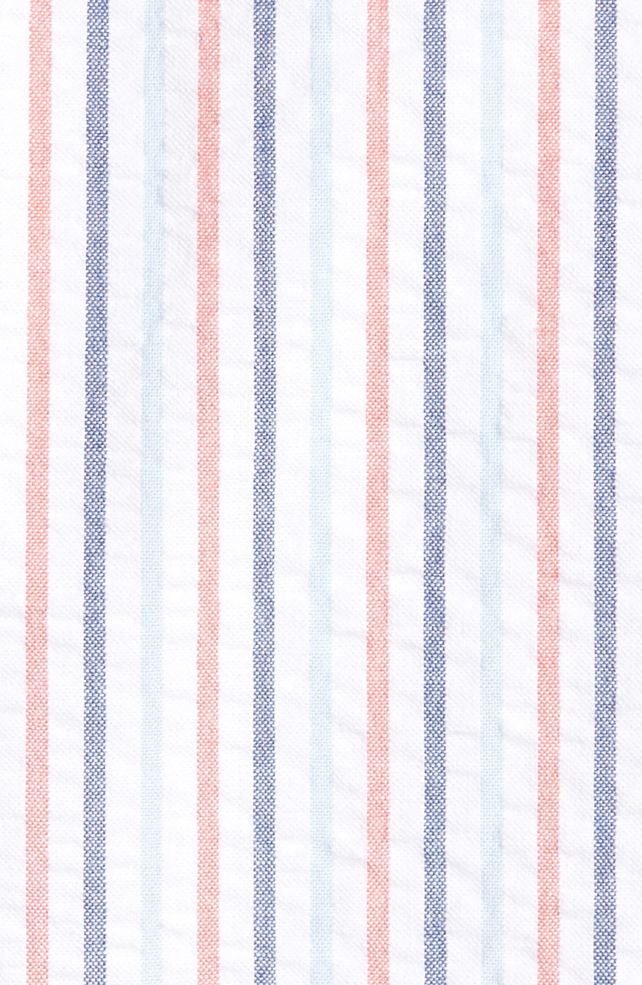 Trim Fit Seersucker Short Sleeve Sport Shirt,                             Alternate thumbnail 5, color,                             White Multi Pencil Stripe