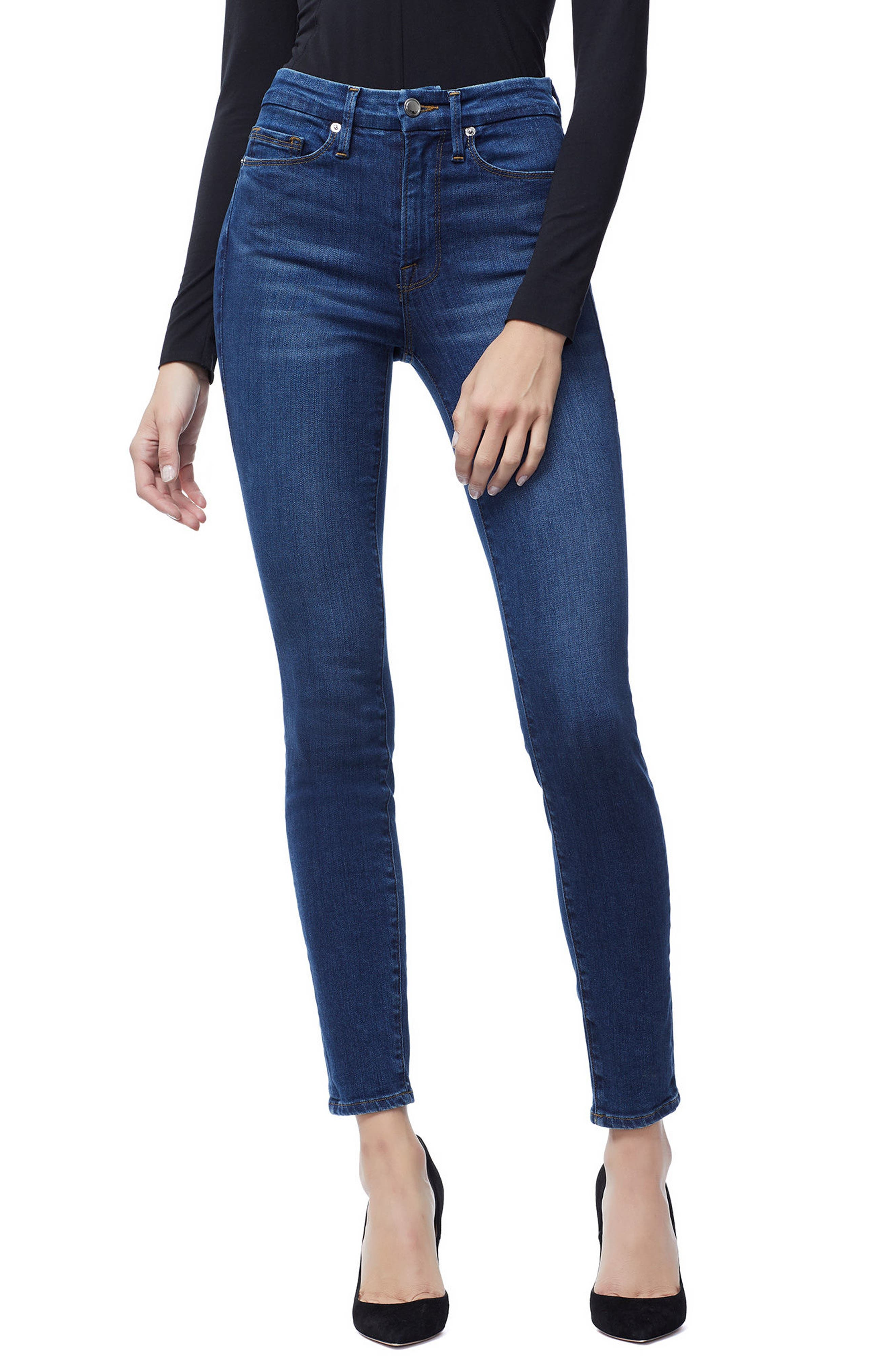 Good Waist Ripped High Waist Skinny Jeans,                             Main thumbnail 1, color,                             Blue 161