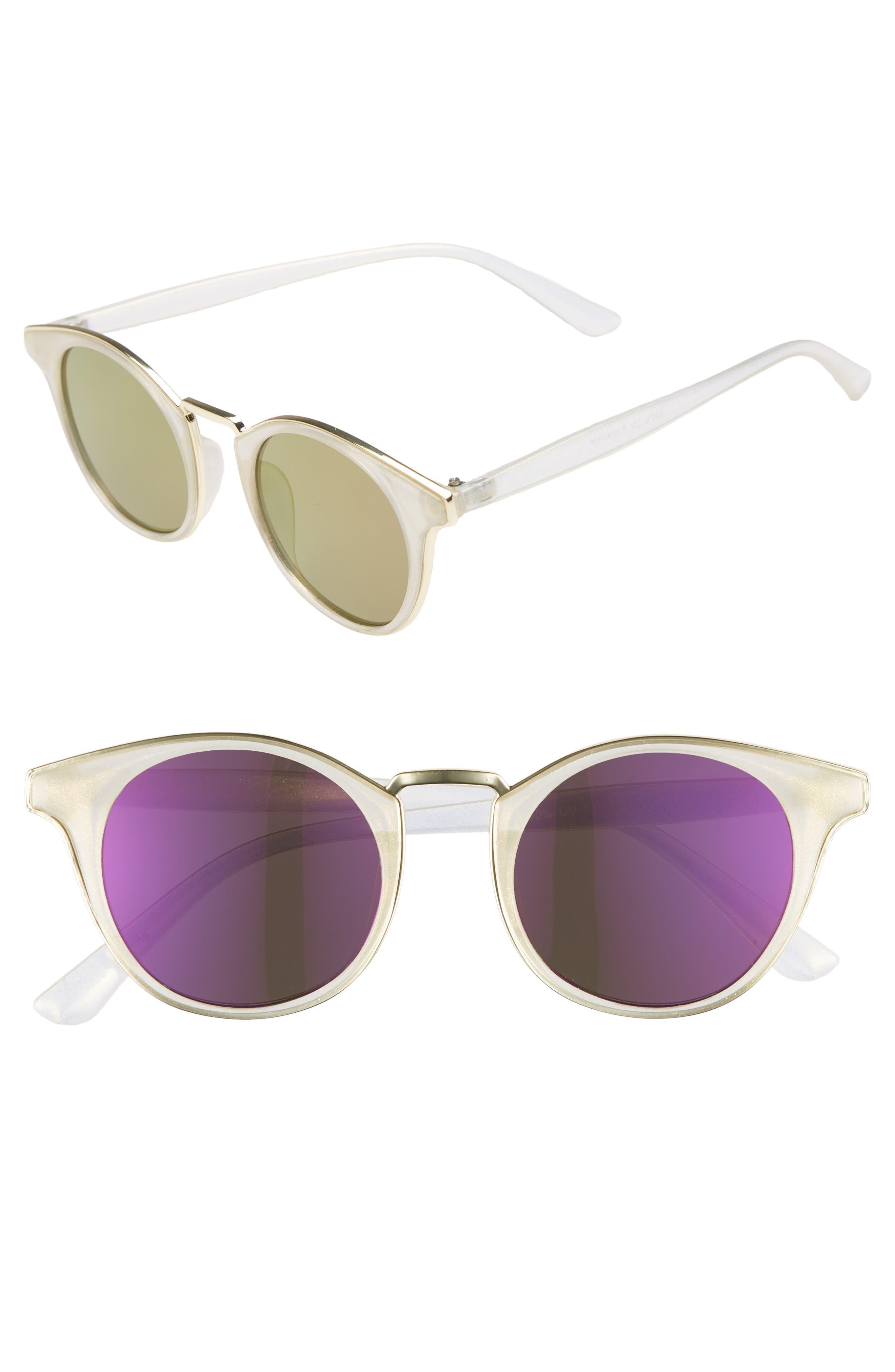 47mm Metal Trim Round Sunglasses,                         Main,                         color, Clear/ Blue